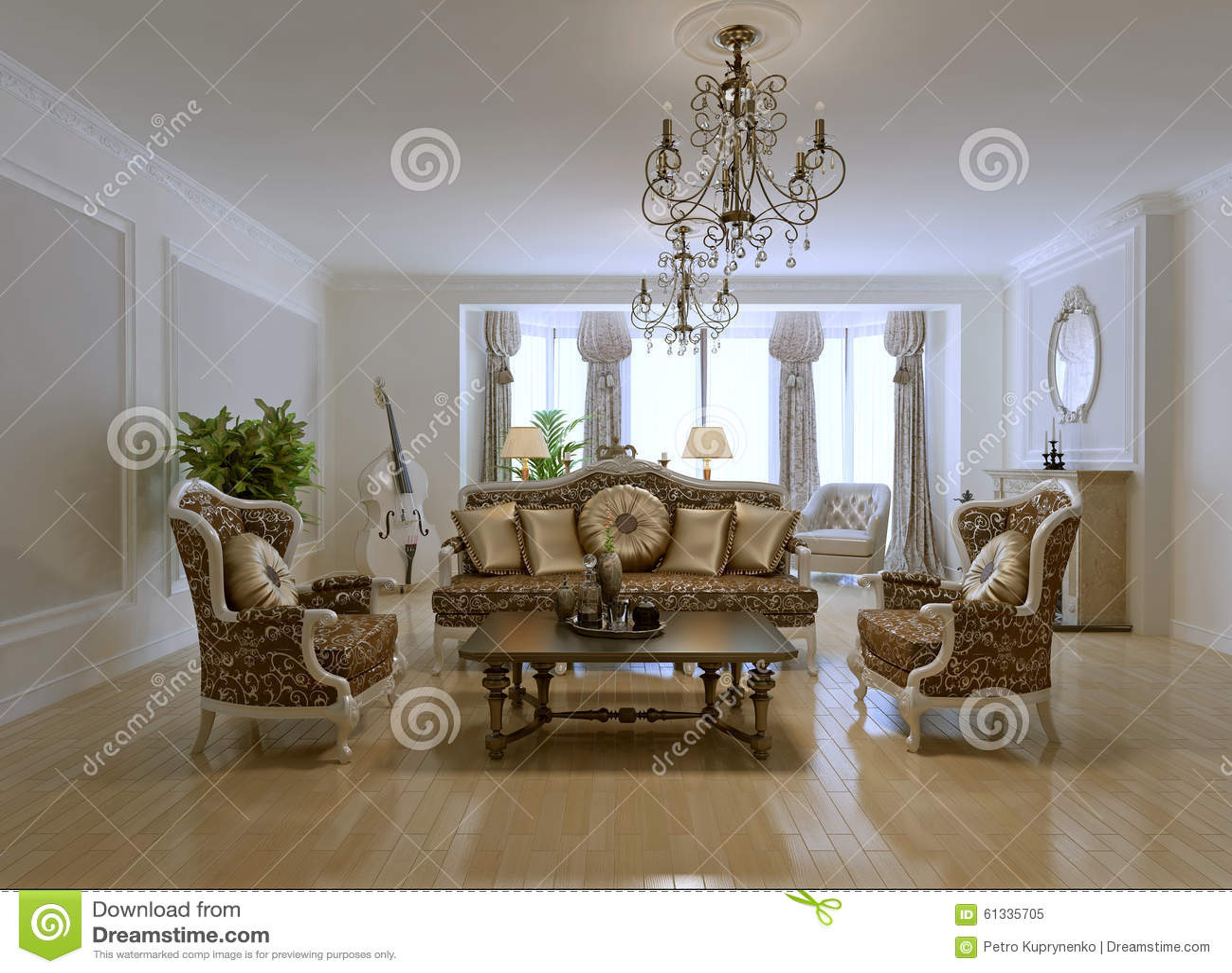 Ontwerp Van Rijke Woonkamer Stock Illustratie - Afbeelding: 61335705