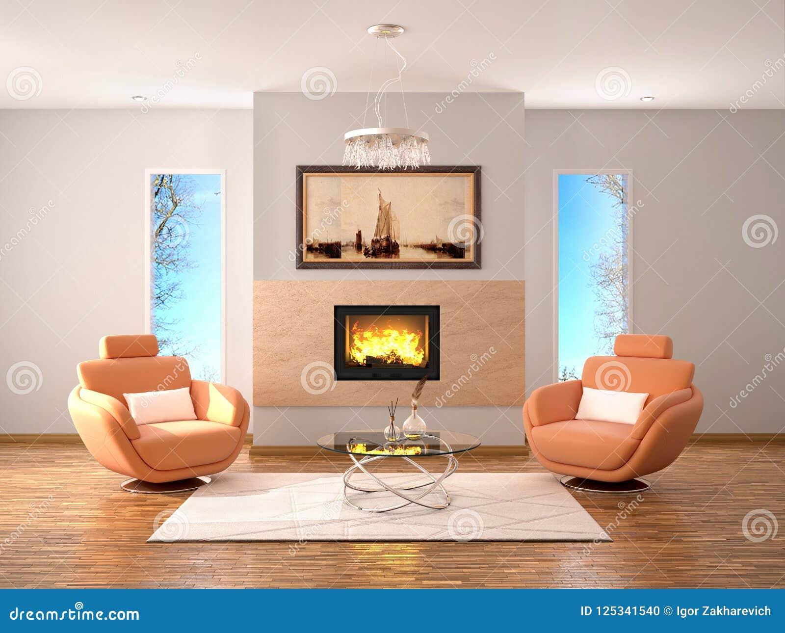 Ontwerp van woonkamer met open haard