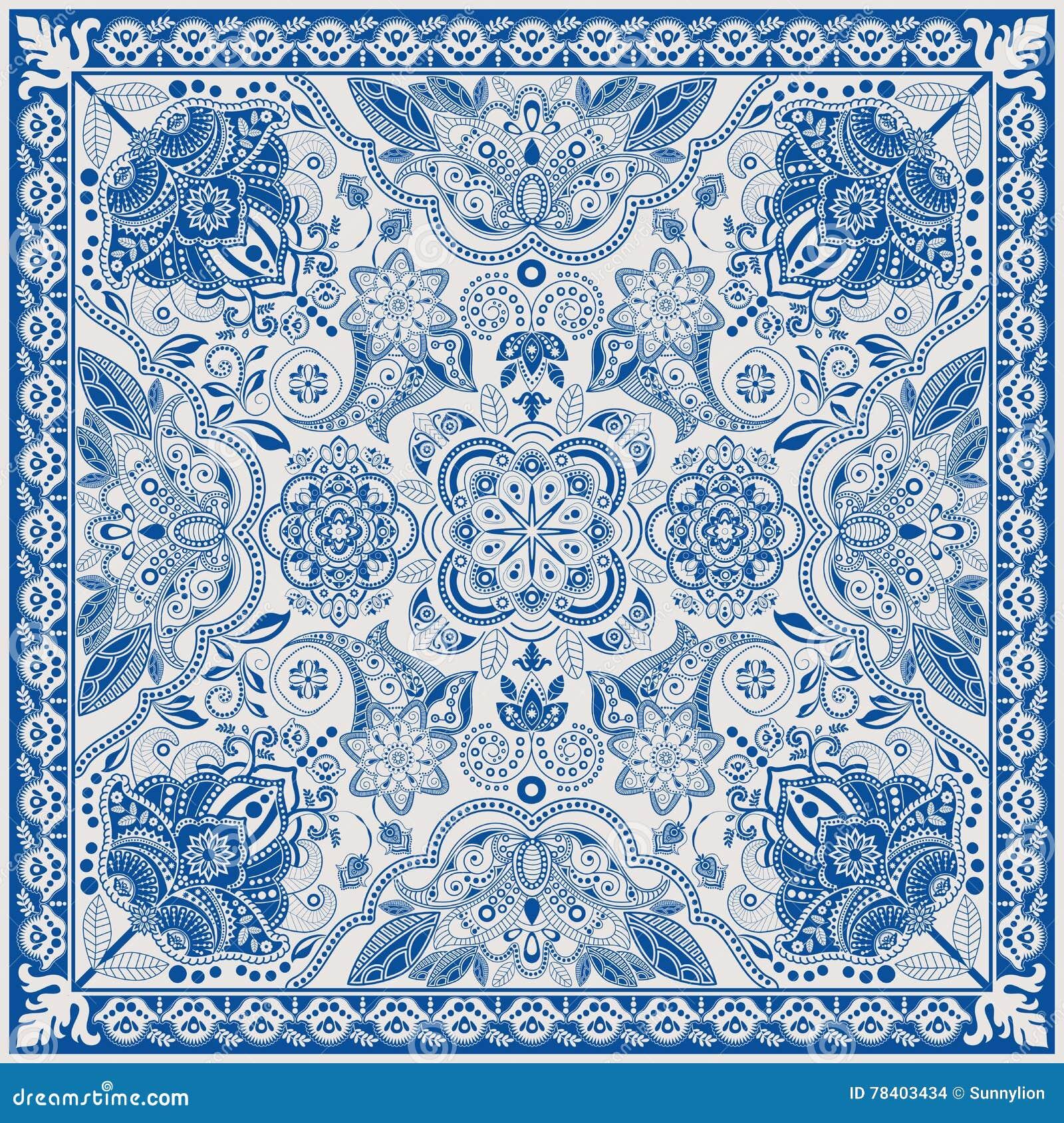 Ontwerp voor vierkante zak, sjaal, textiel Het bloemenpatroon van Paisley