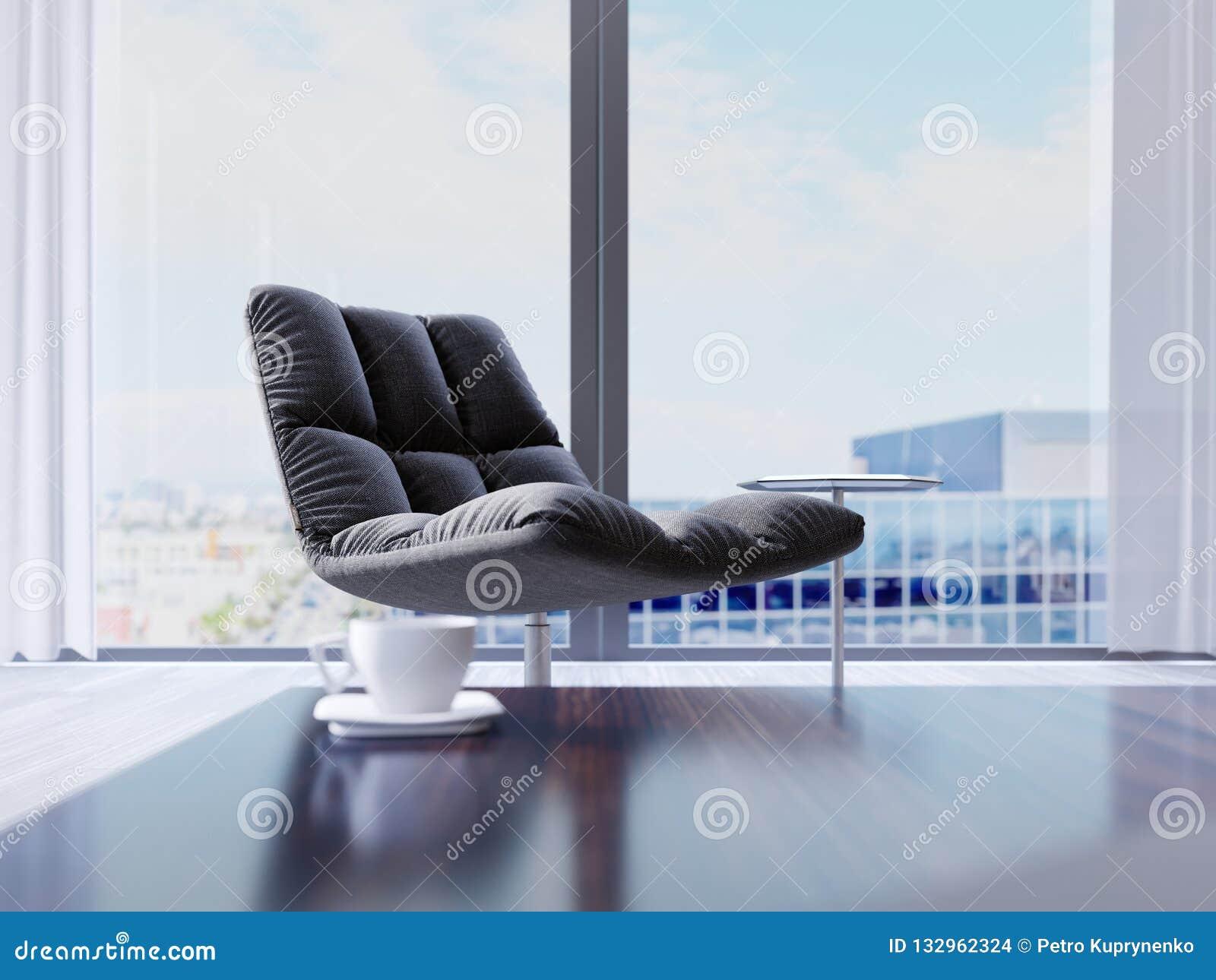 Ontwerper zwarte stoel door het venster in een modern binnenland Diepte van Gebiedseffect