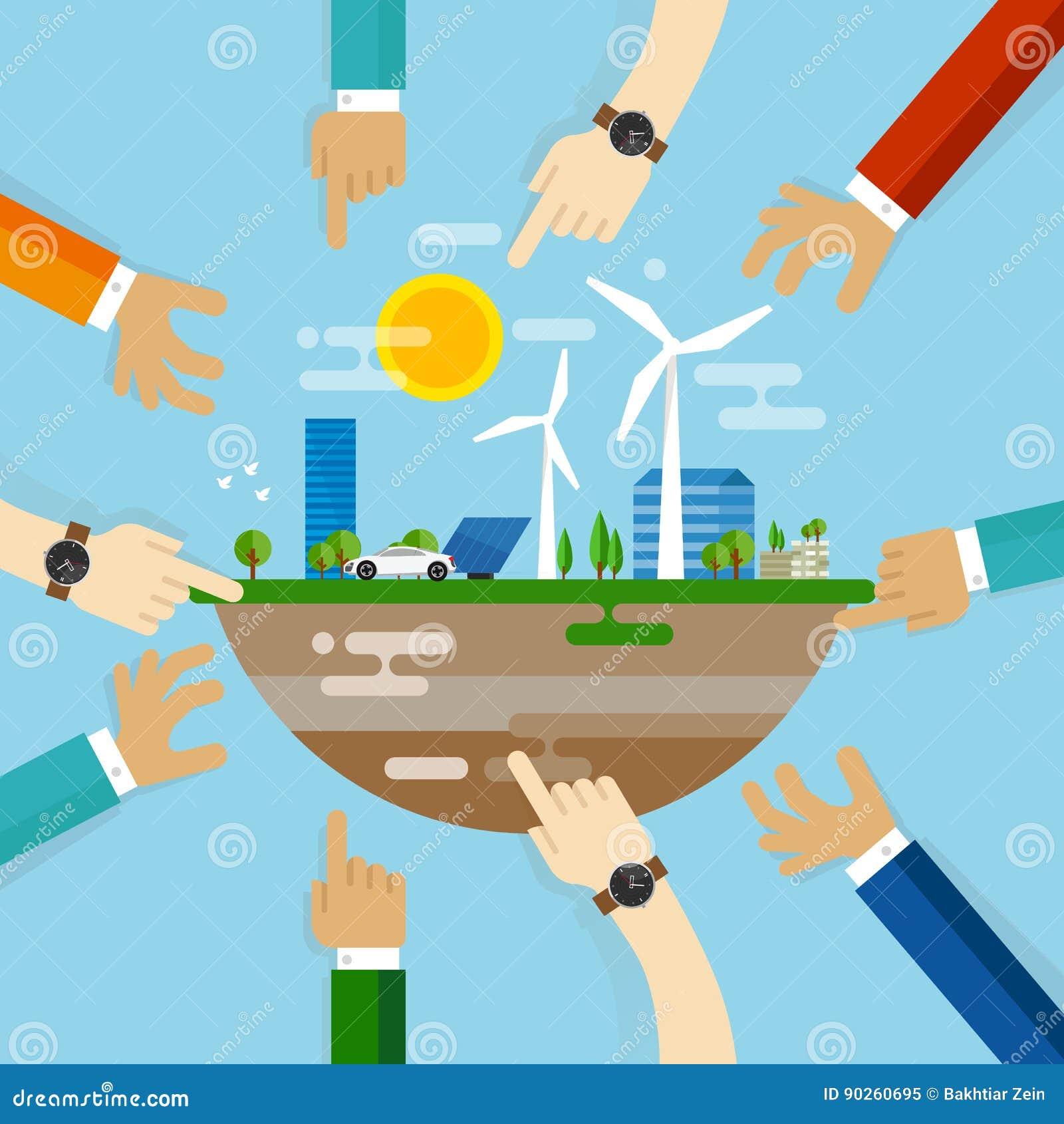 Ontwikkeling die van de Eco de vriendschappelijke stad samen samenwerking met gemeenschap bij het leiden van leefbare duurzame we