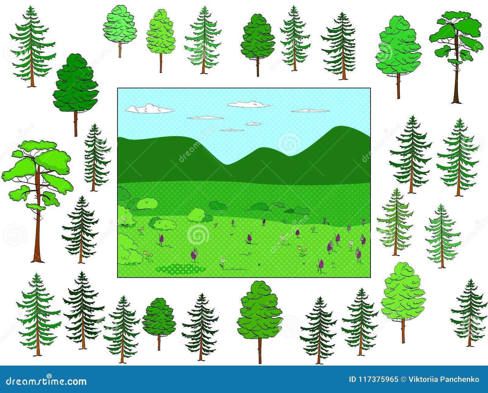 Ontwikkelt kinderenspel, snijd op zijn plaats en zet Achtergrond van natuurlijk bos en open plek, voorwerpen van bomen Vector