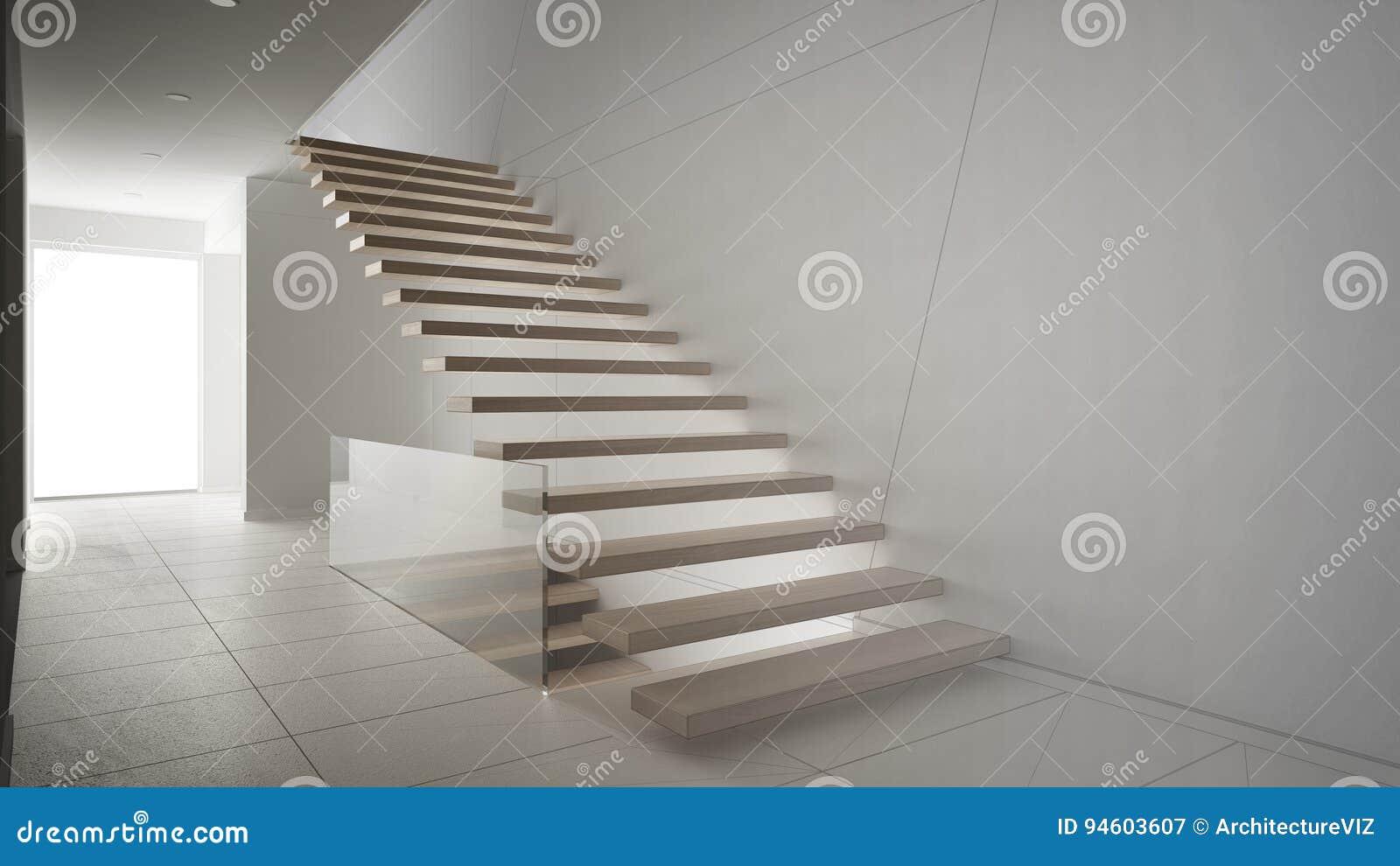 Onvolledig project van moderne hal met houten trap stock