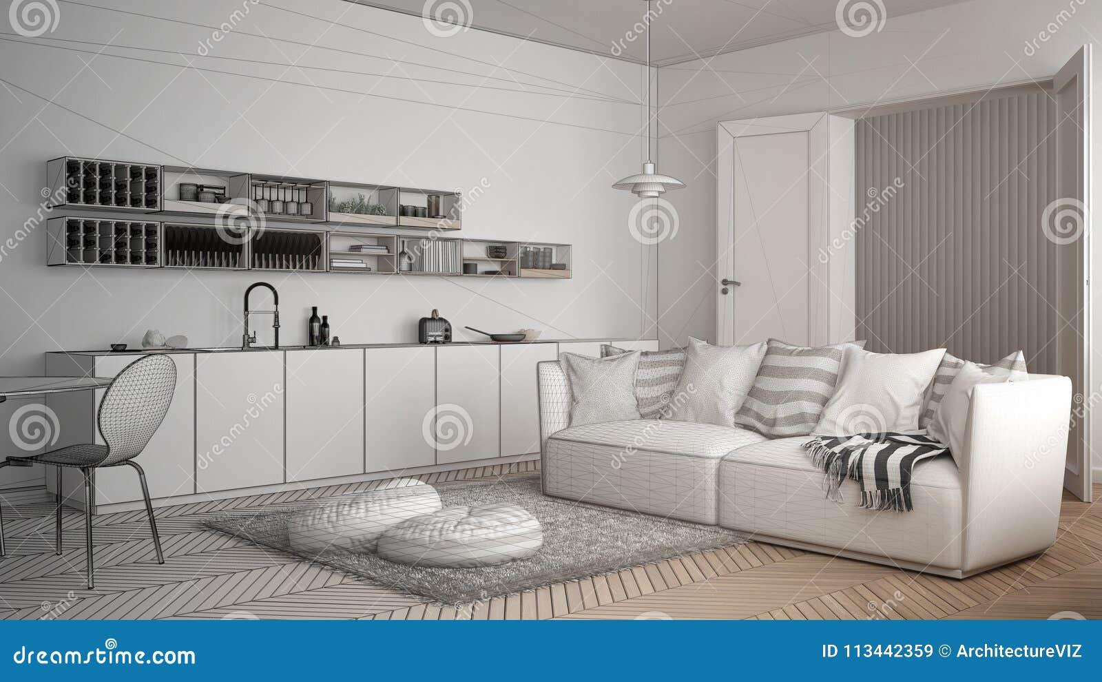 Onvolledig project van skandinavische moderne woonkamer met keuken