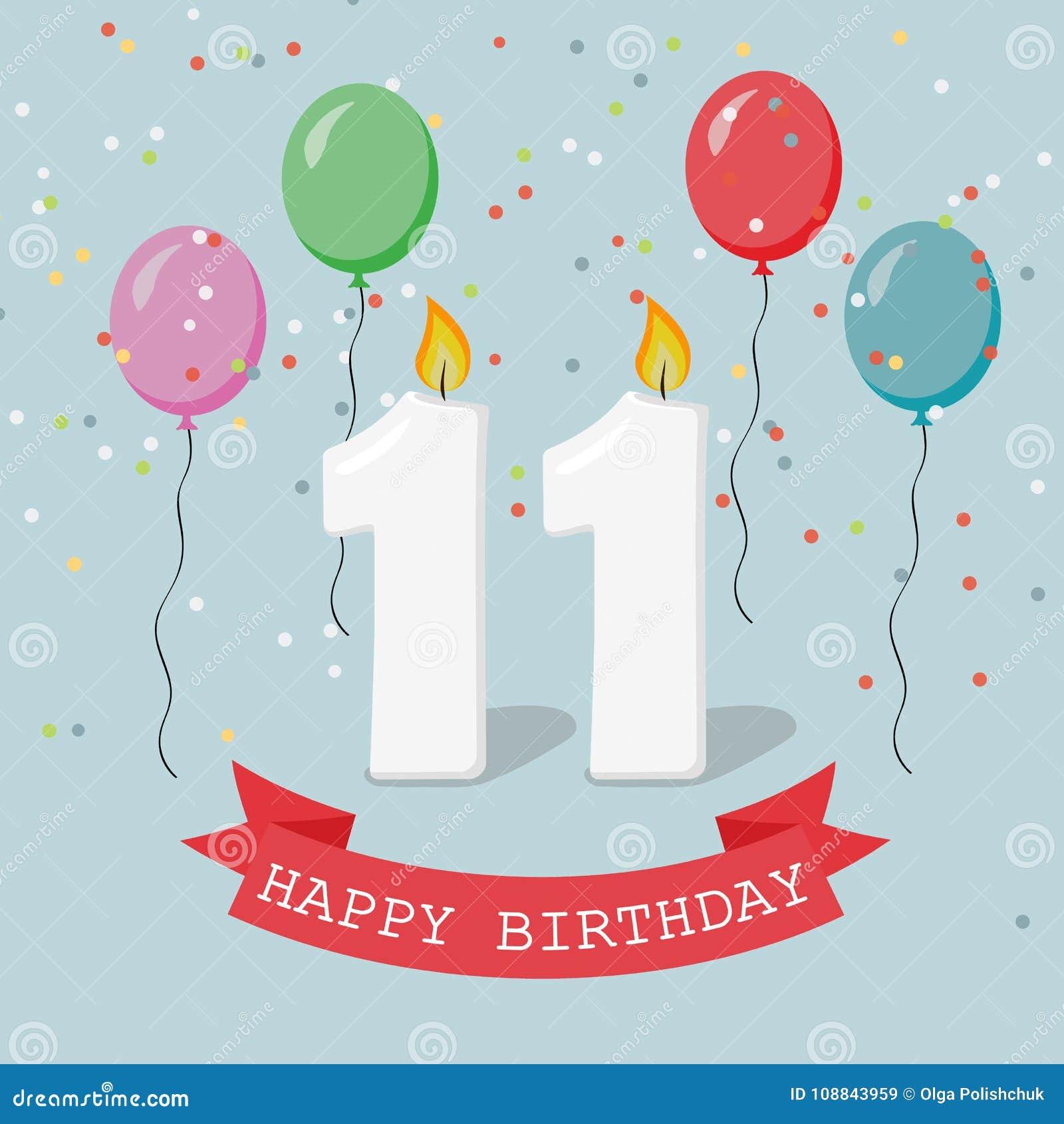 11 Ans Eleven Joyeux Anniversaire Carte De Vœux