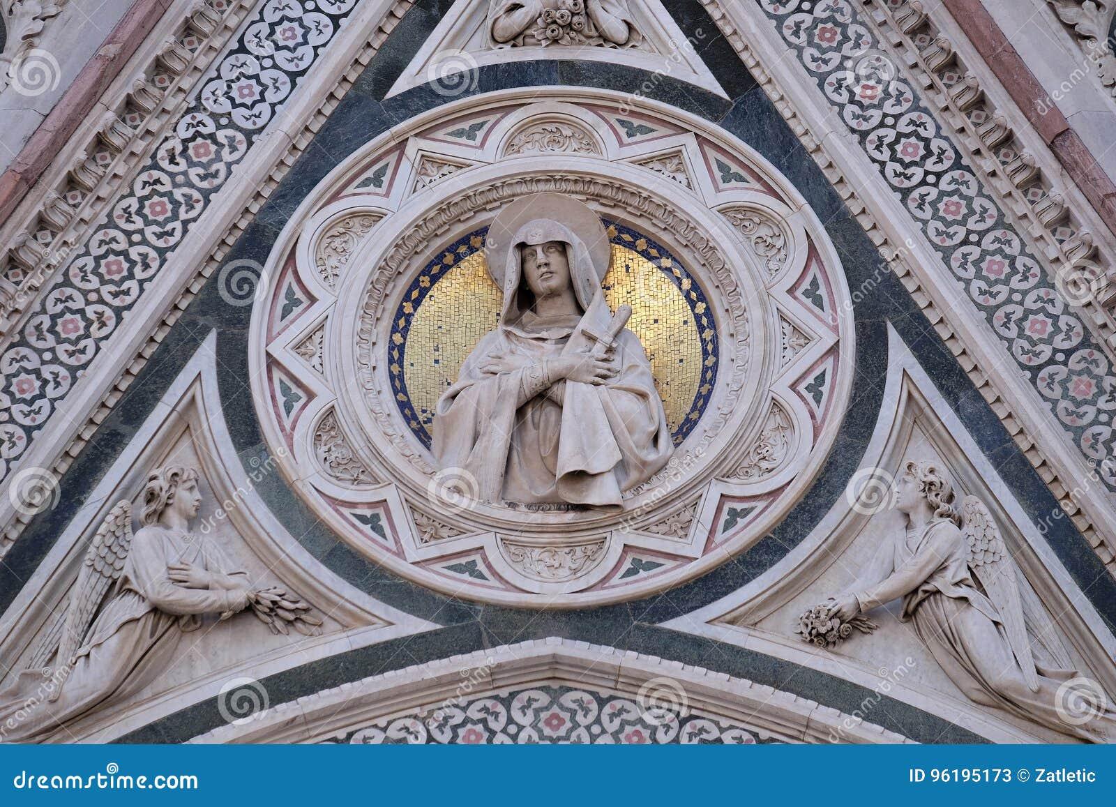 Onze die Dame van Verdriet door Engelen wordt gesteund die Bloemen, Poort van Florence Cathedral dragen