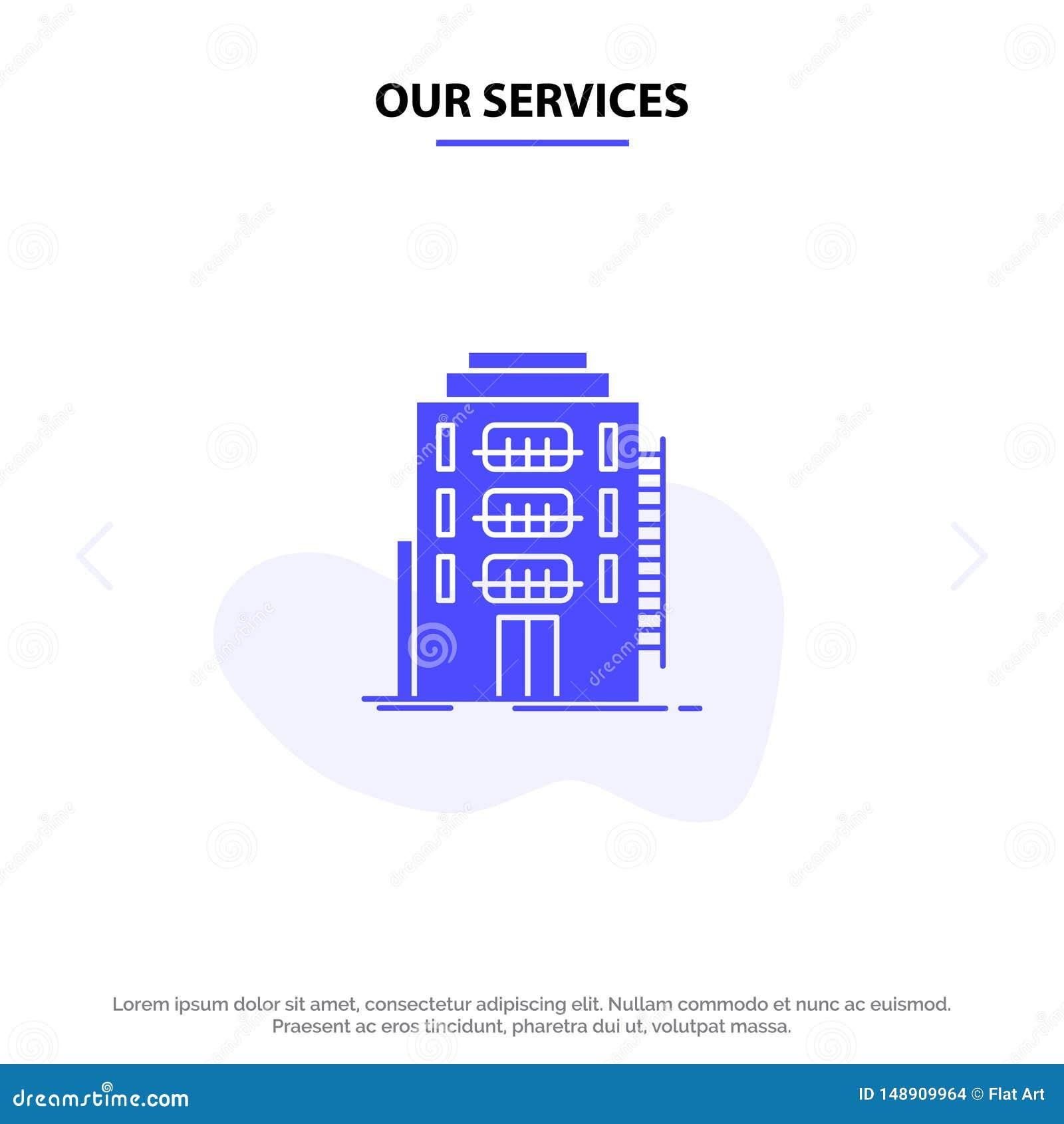 Onze Diensten die, Stad, Slaapzaal, Herberg, van het het Pictogramweb van Hotel Stevig Glyph de kaartmalplaatje bouwen