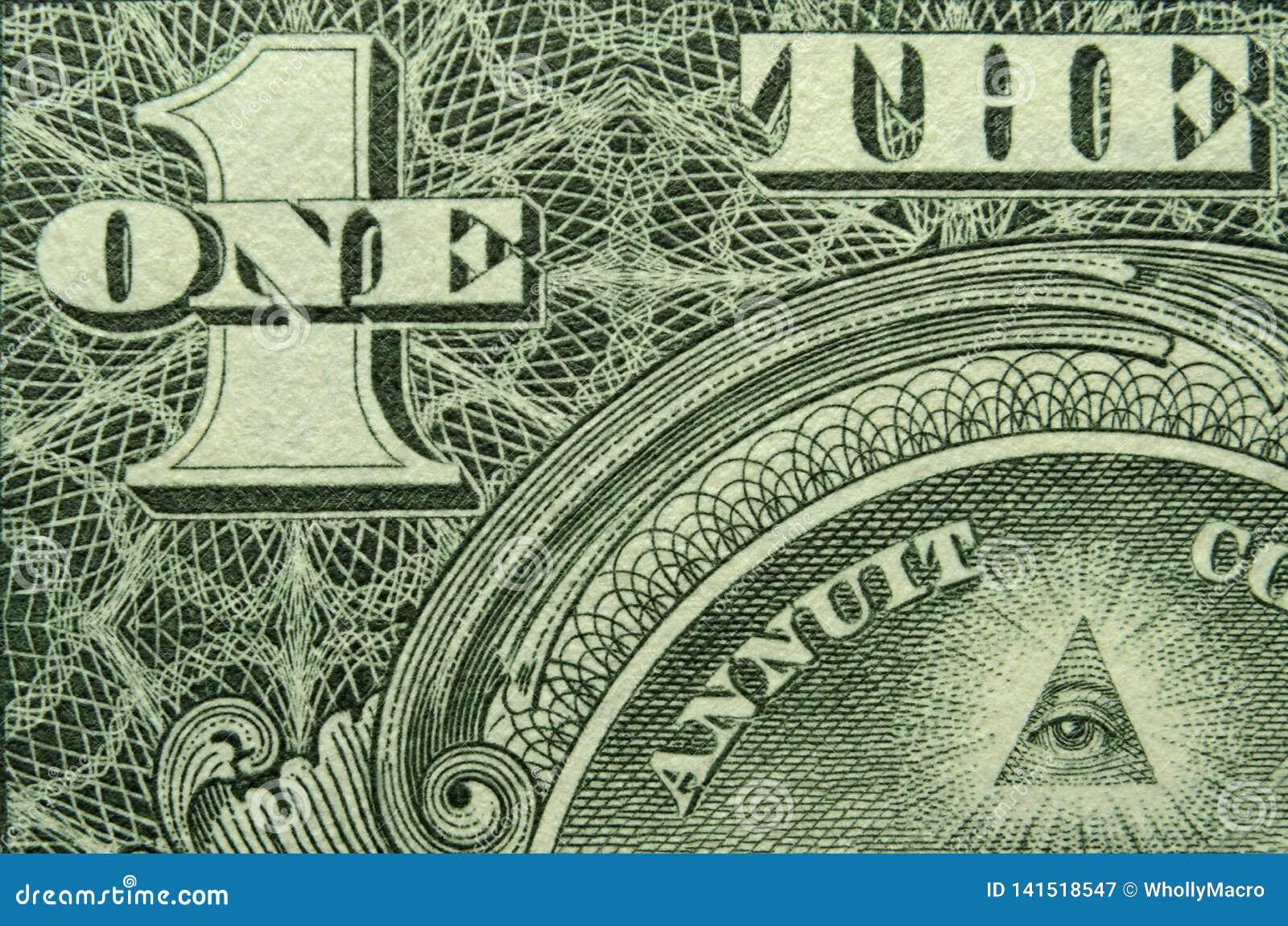 Oog en ÉÉN en van de V.S. één dollarrekening
