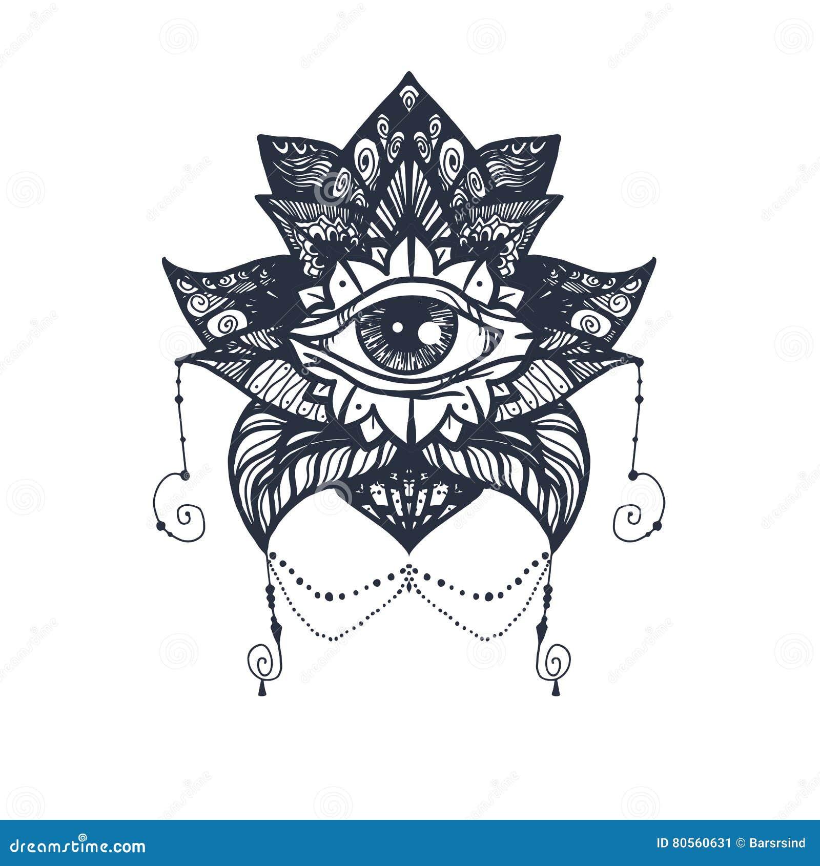 Oog Op Lotus Tattoo Stock Illustratie Illustratie Bestaande Uit