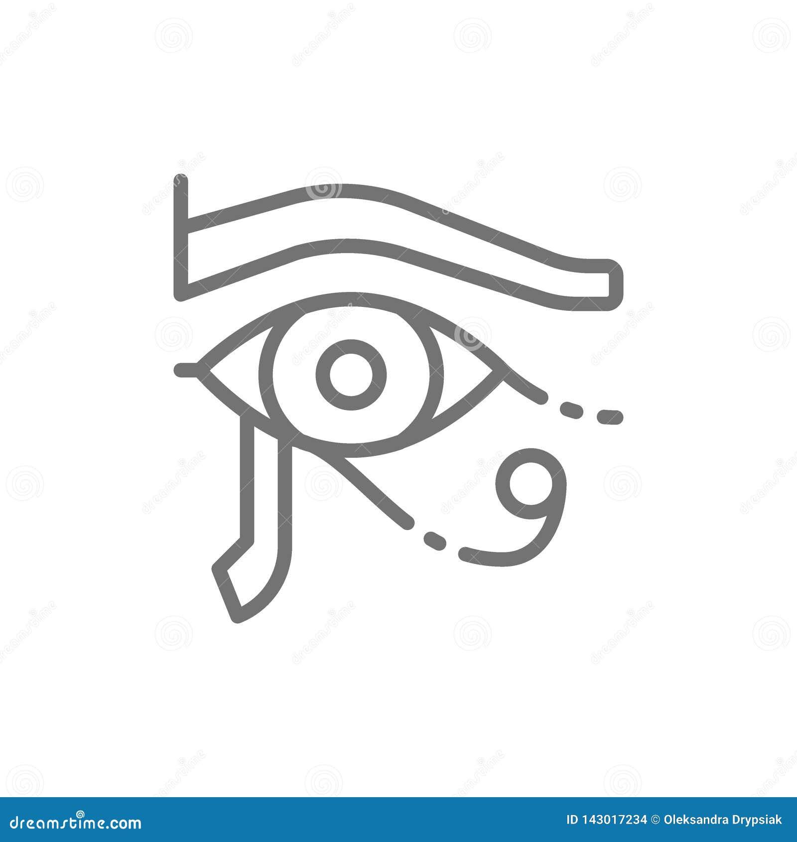Oog van Horus, het oude Egyptische pictogram van de maanlijn