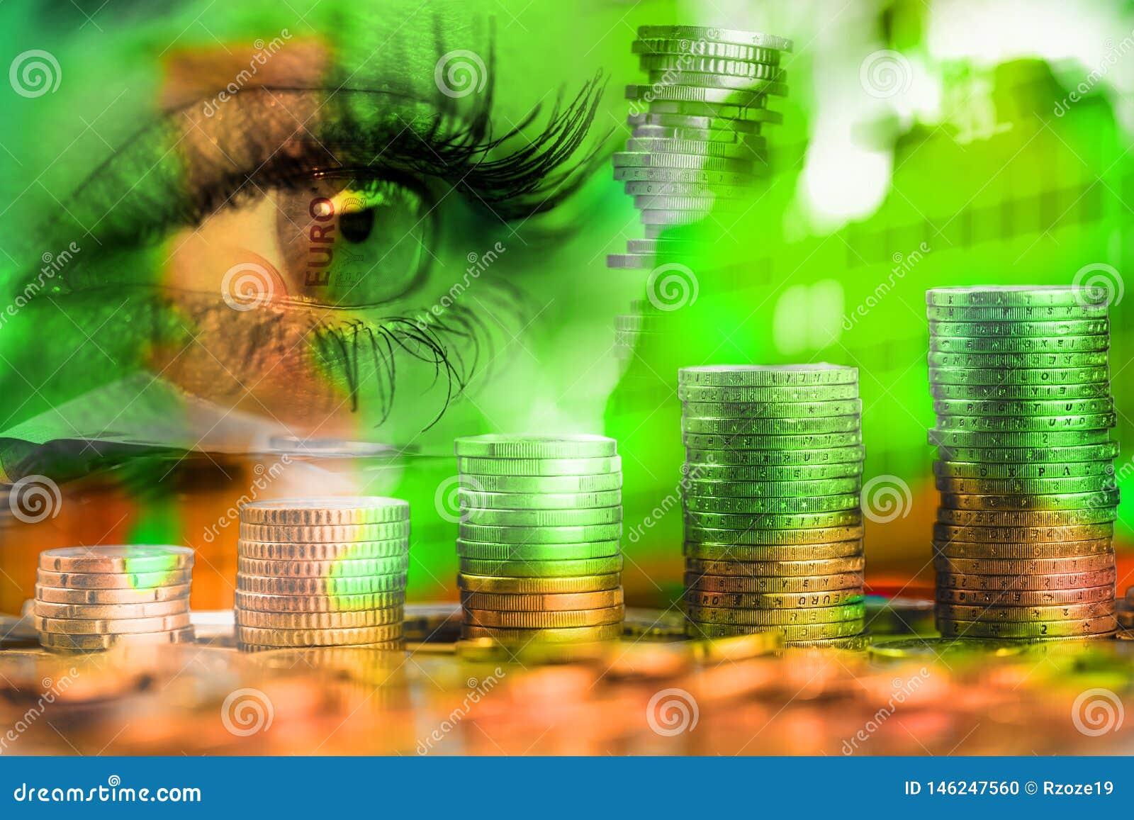 Oog van vrouw en geldeuro Dubbele blootstelling Concept bedrijfsvisie, geld, inkomens
