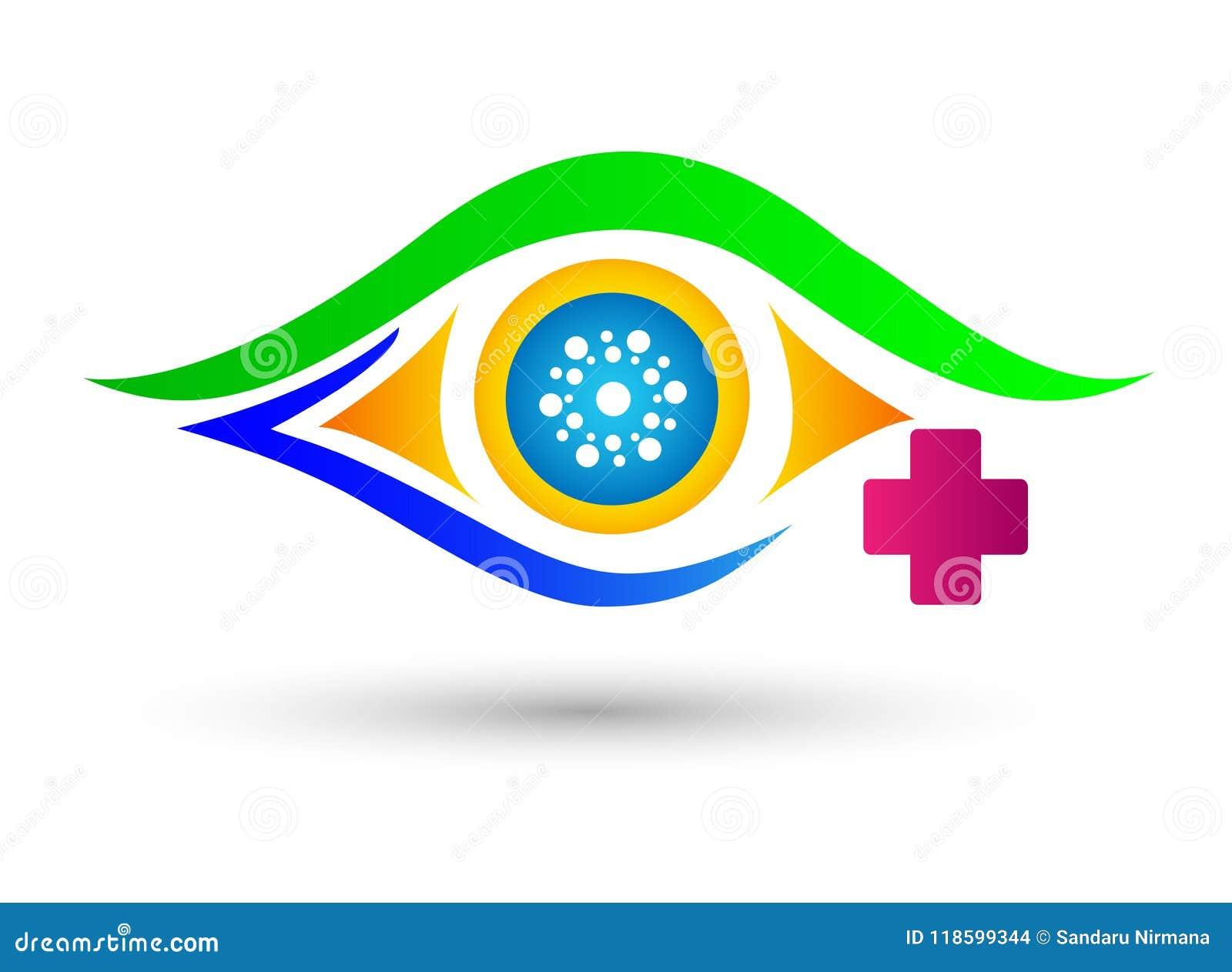 Oogkliniek, het medische embleem van de oogzorg voor medisch concept op witte achtergrond