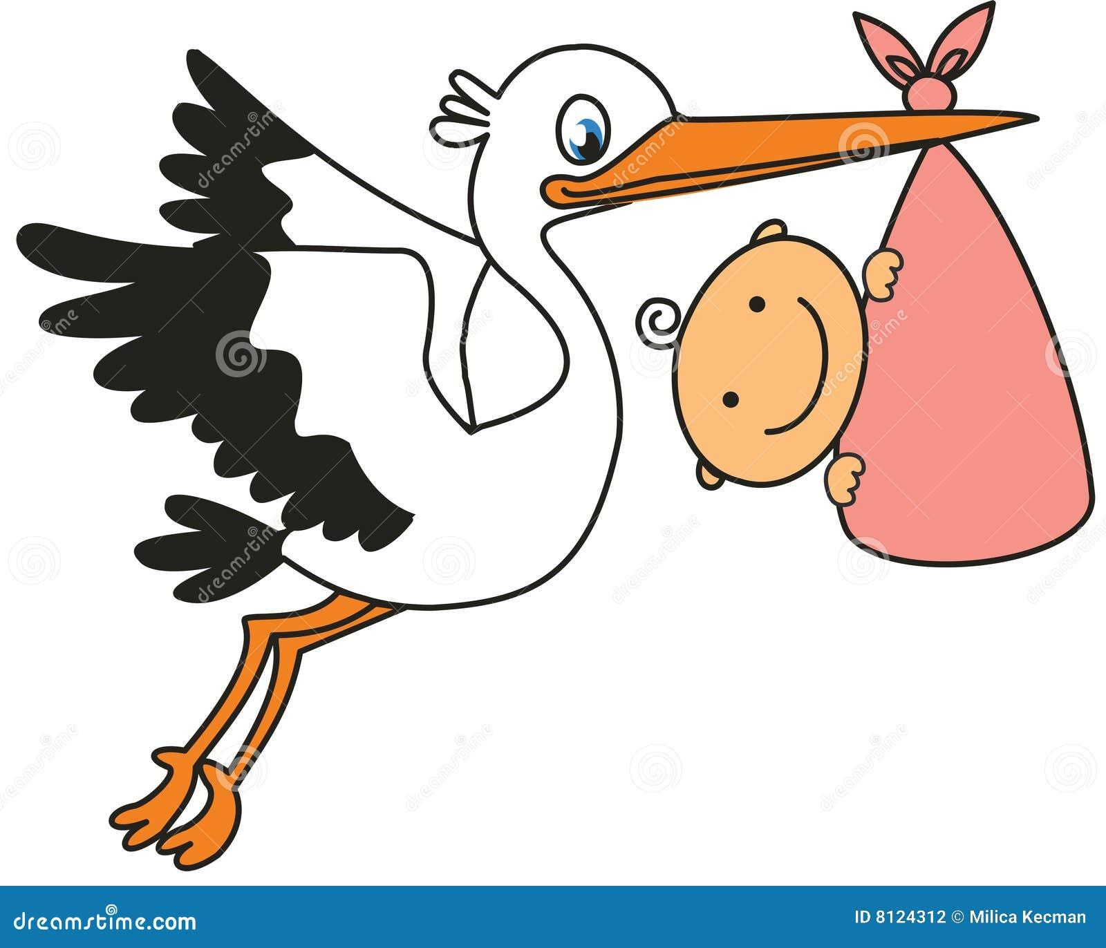 Ooievaar En Baby Stock Fotografie Beeld 8124312