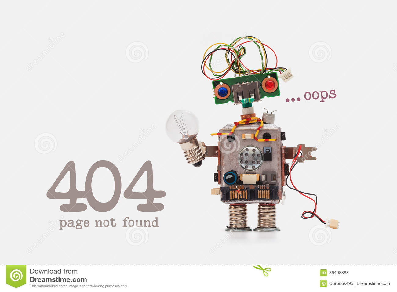 Oops 404 error page not found. Futuristic robot concept with electrical wire hairstyle. Circuits socket chip toy