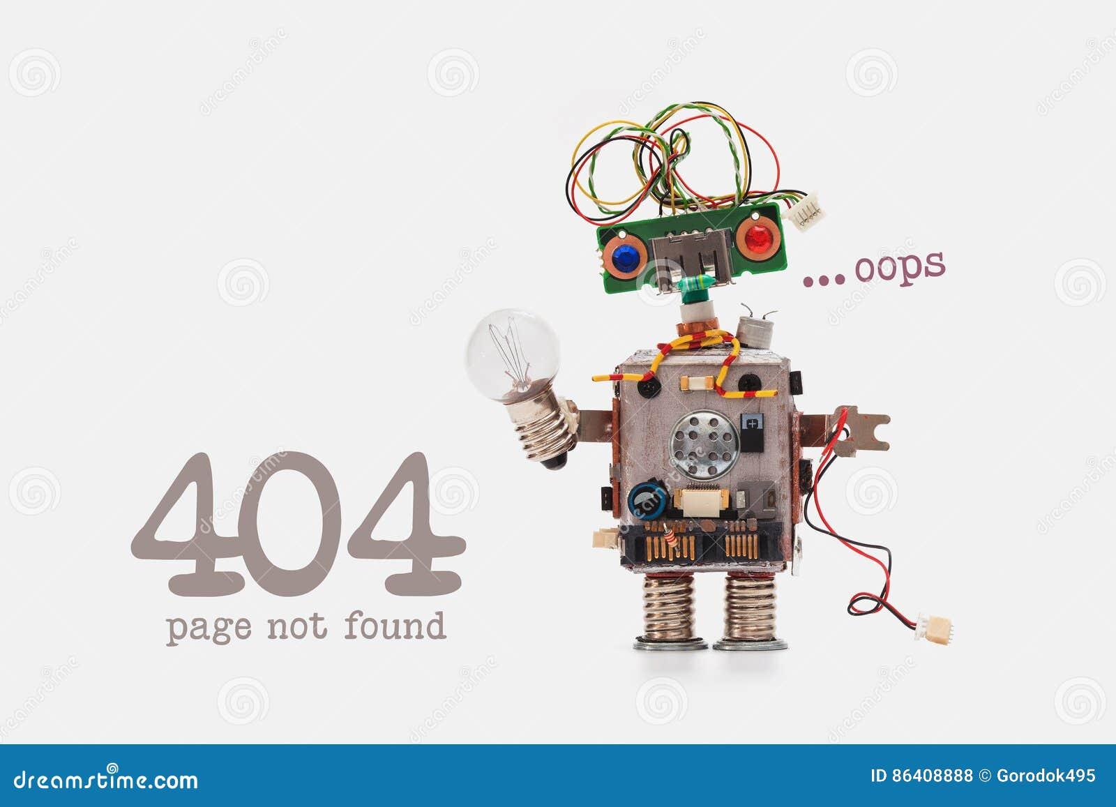 Oops 404 gevonden niet foutenpagina Futuristisch robotconcept met elektrodraadkapsel De spaanderstuk speelgoed van de kringencont