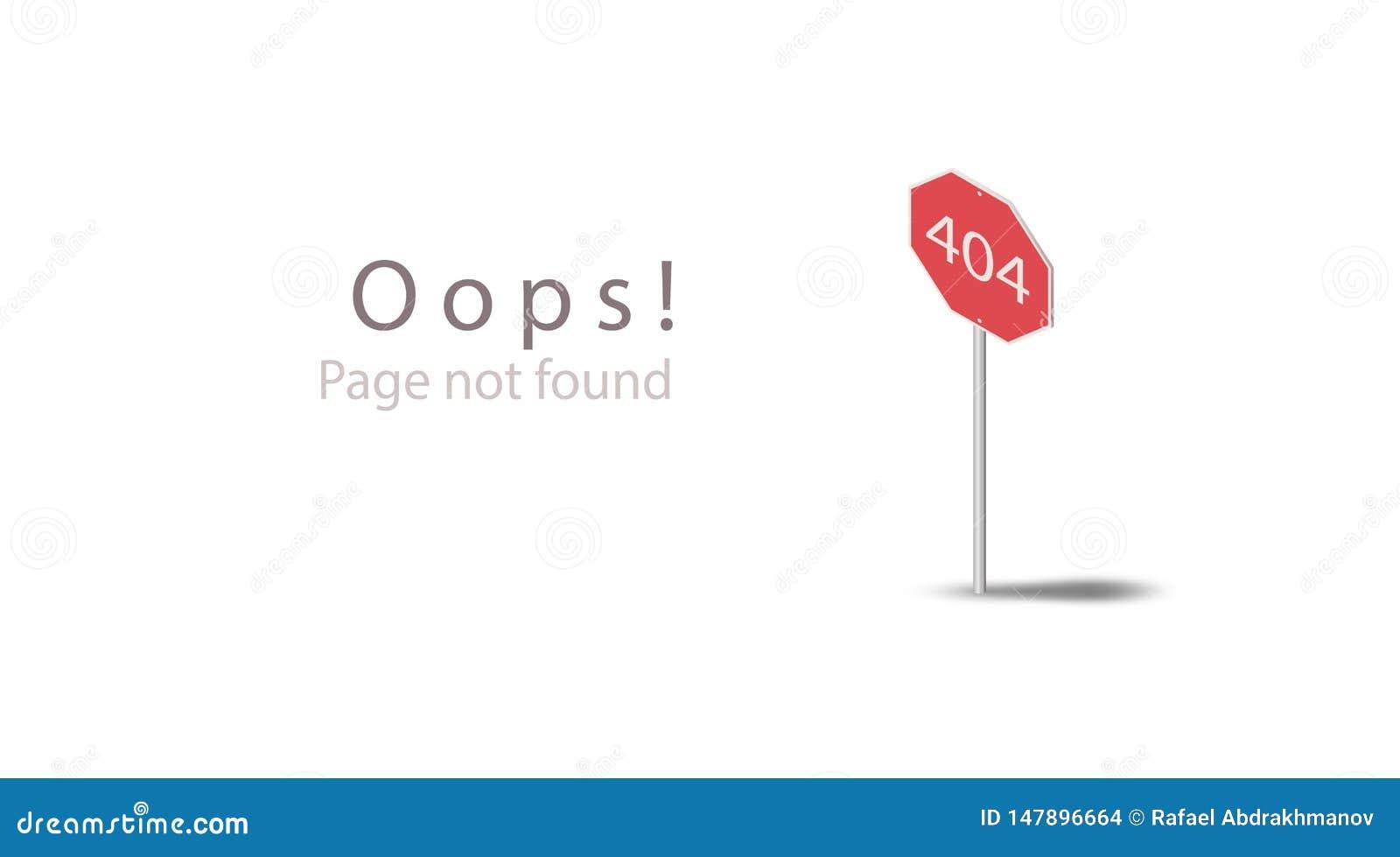 404 Oops! Sida att inte grunda Isometrisk mall för design för websitesida Plant rött symbolstecken för väg som 3d isoleras på en