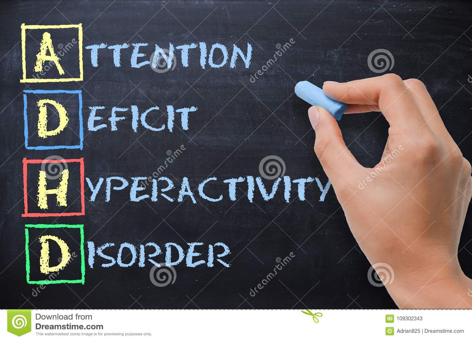 Oordning för hyperactivity för underskott för ADHD-—uppmärksamhet som är handskriven vid kvinnan på svart tavla