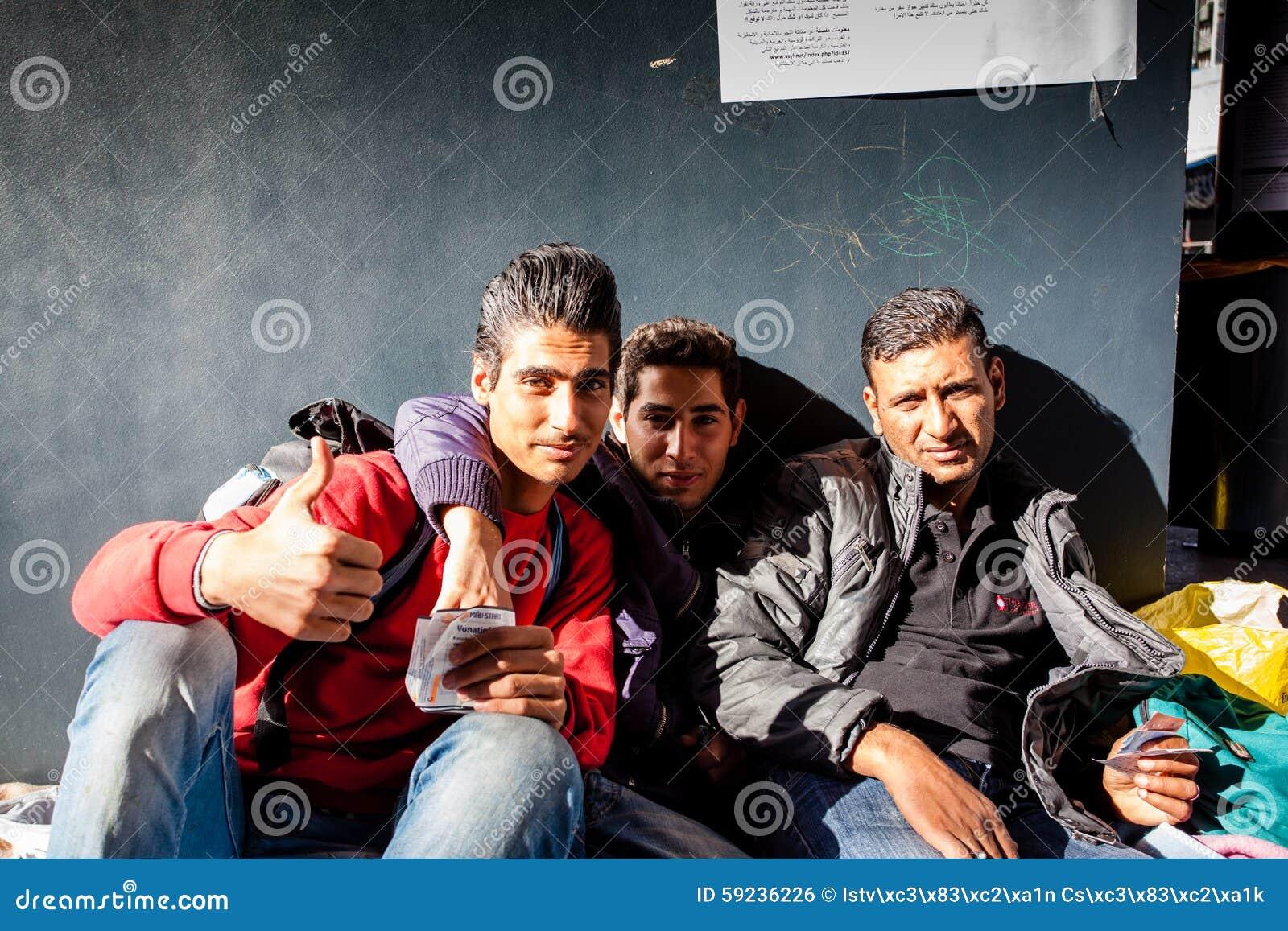 Oorlogsvluchtelingen bij het Keleti-Station