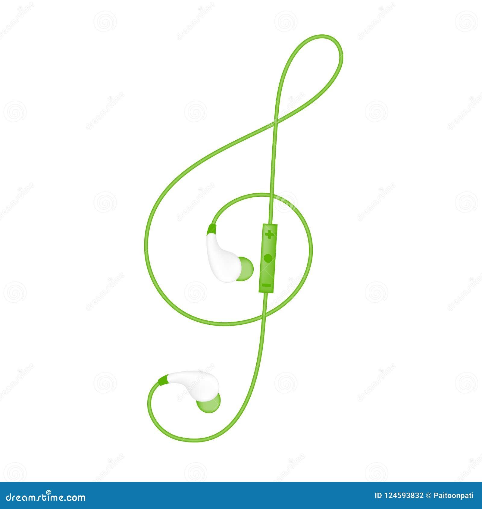 Oortelefoons draadloos en ver, in Oortype groene die kleur en G-sleutelvorm van kabel wordt gemaakt