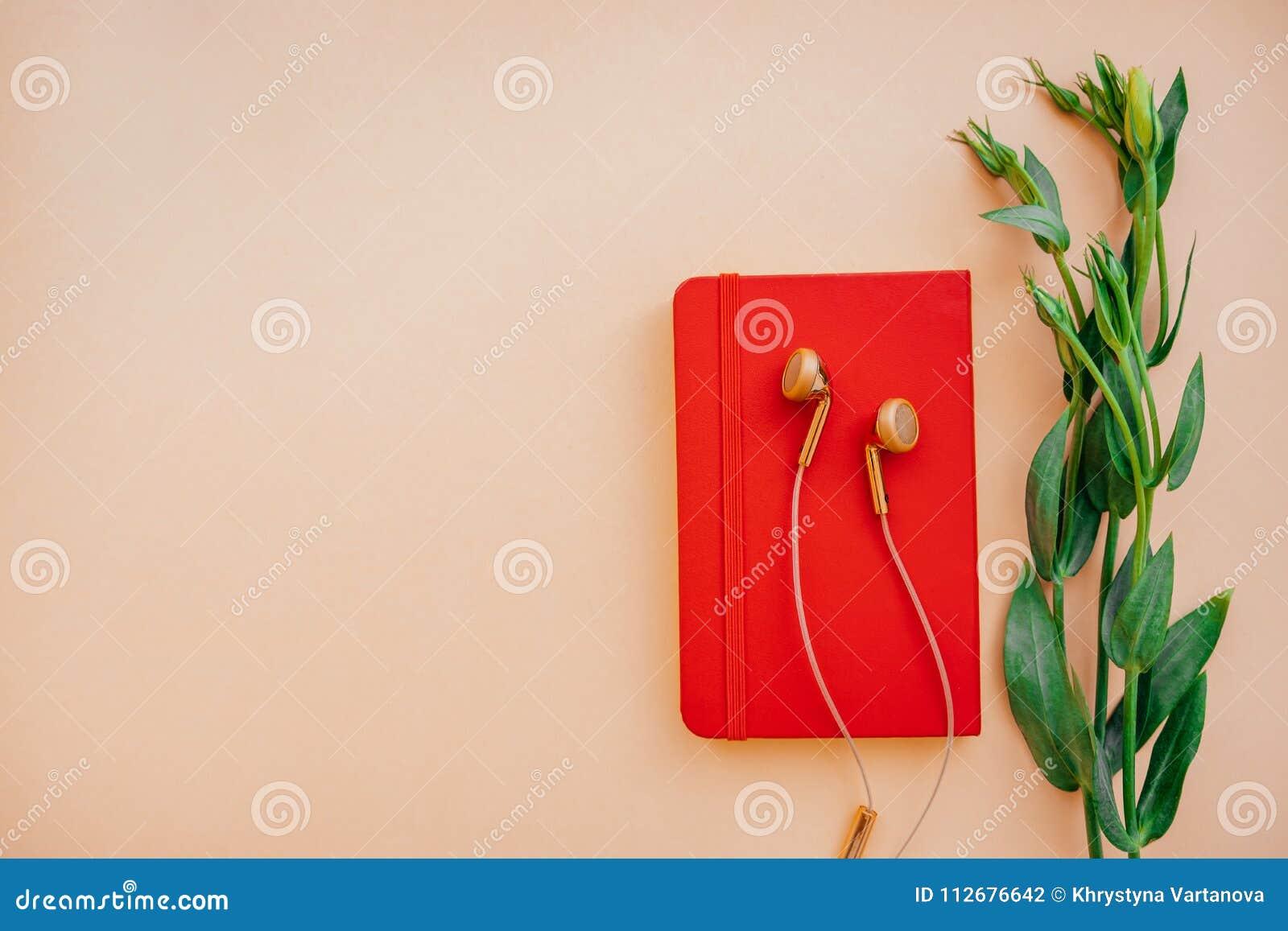 Oortelefoons met notitieboekje