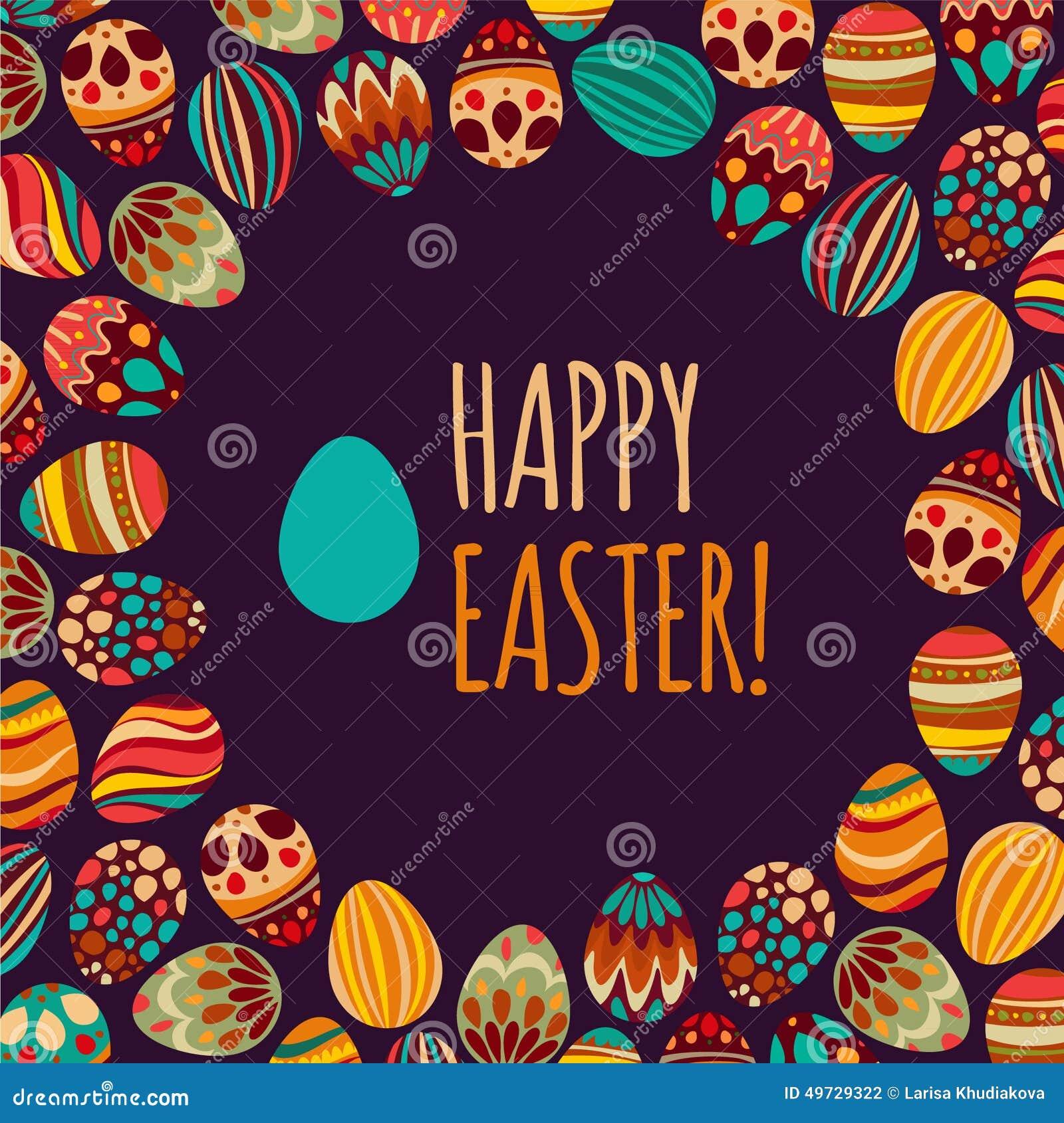 Oostelijke eieren Vector illustratie Vectorpatroon met kleurrijke eieren op BRUINE achtergrond