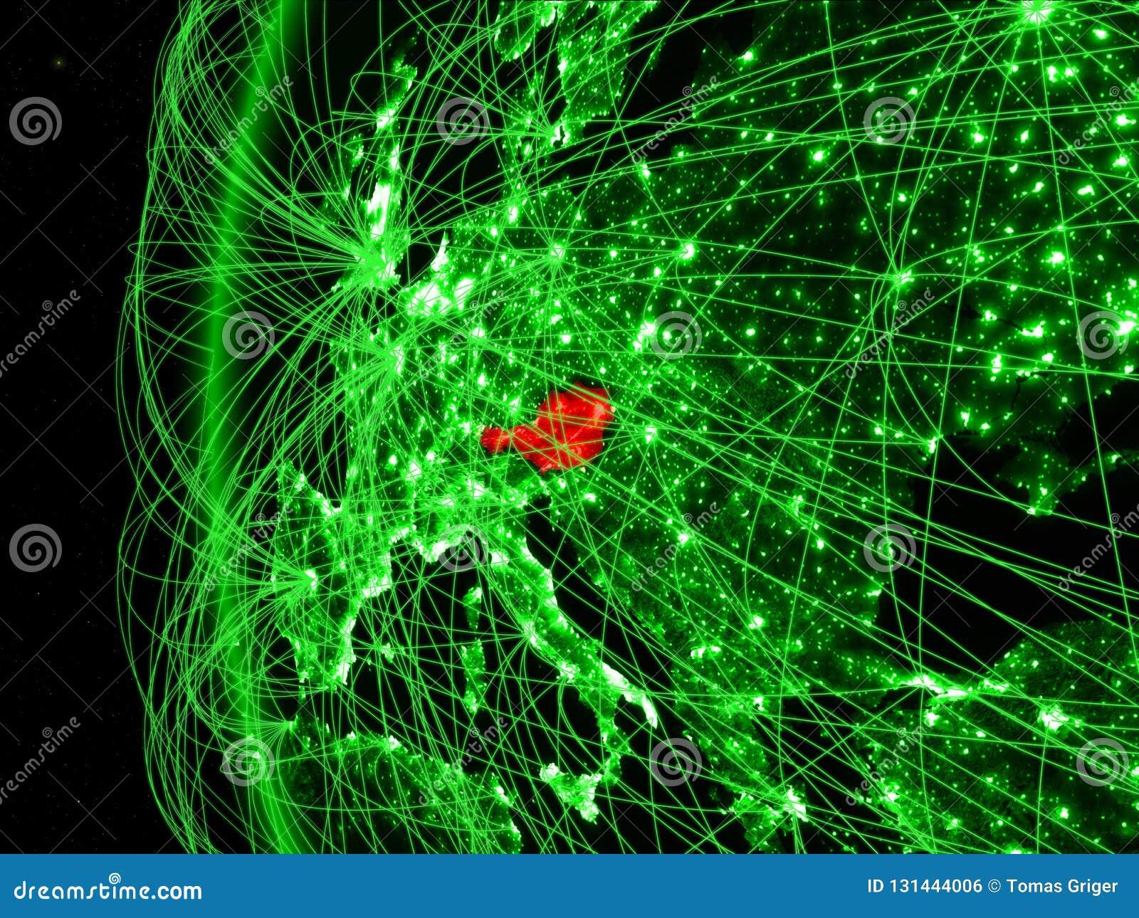 Oostenrijk van ruimte op groen model van Aarde met internationale netwerken Concept groene mededeling of reis 3D Illustratie