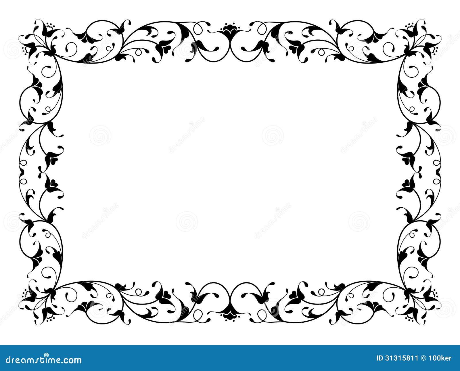 oosters bloemen sier decoratief zwart kader stock afbeelding beeld 31315811. Black Bedroom Furniture Sets. Home Design Ideas