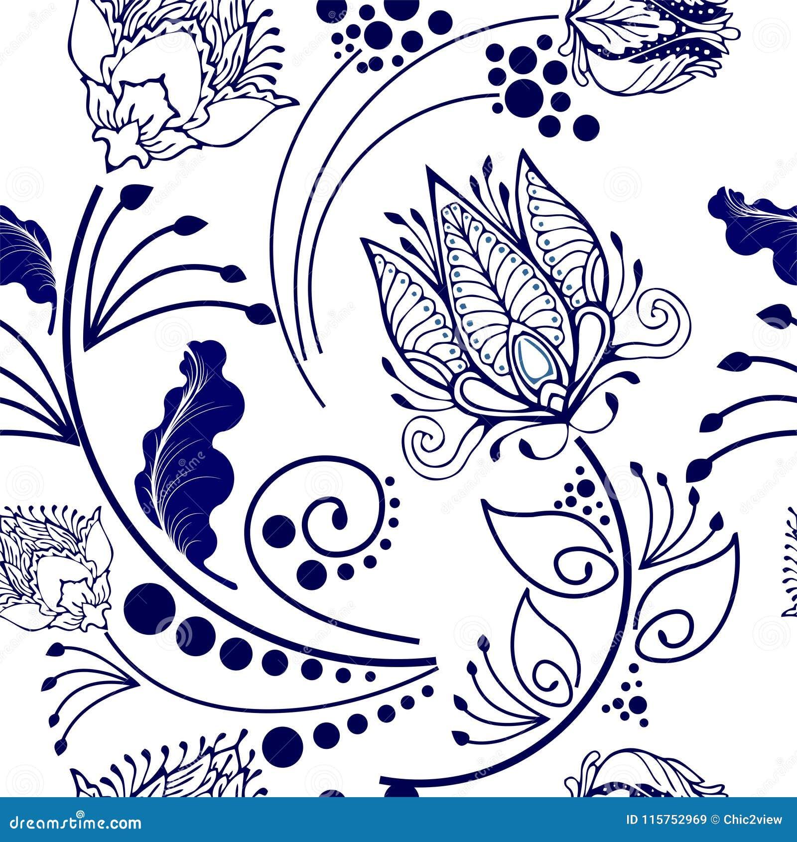 Oosters Chinees botanisch bloem grafisch ontwerp voor motief in het naadloze patroon van de Porseleinstijl
