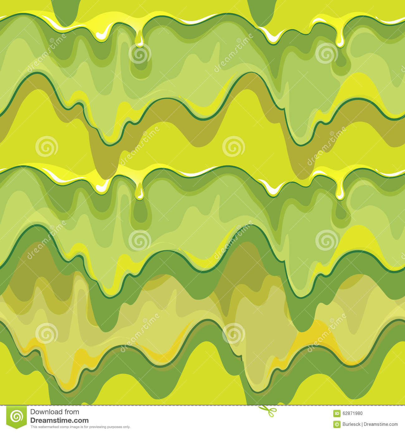 Oozing green slime vector seamless pattern