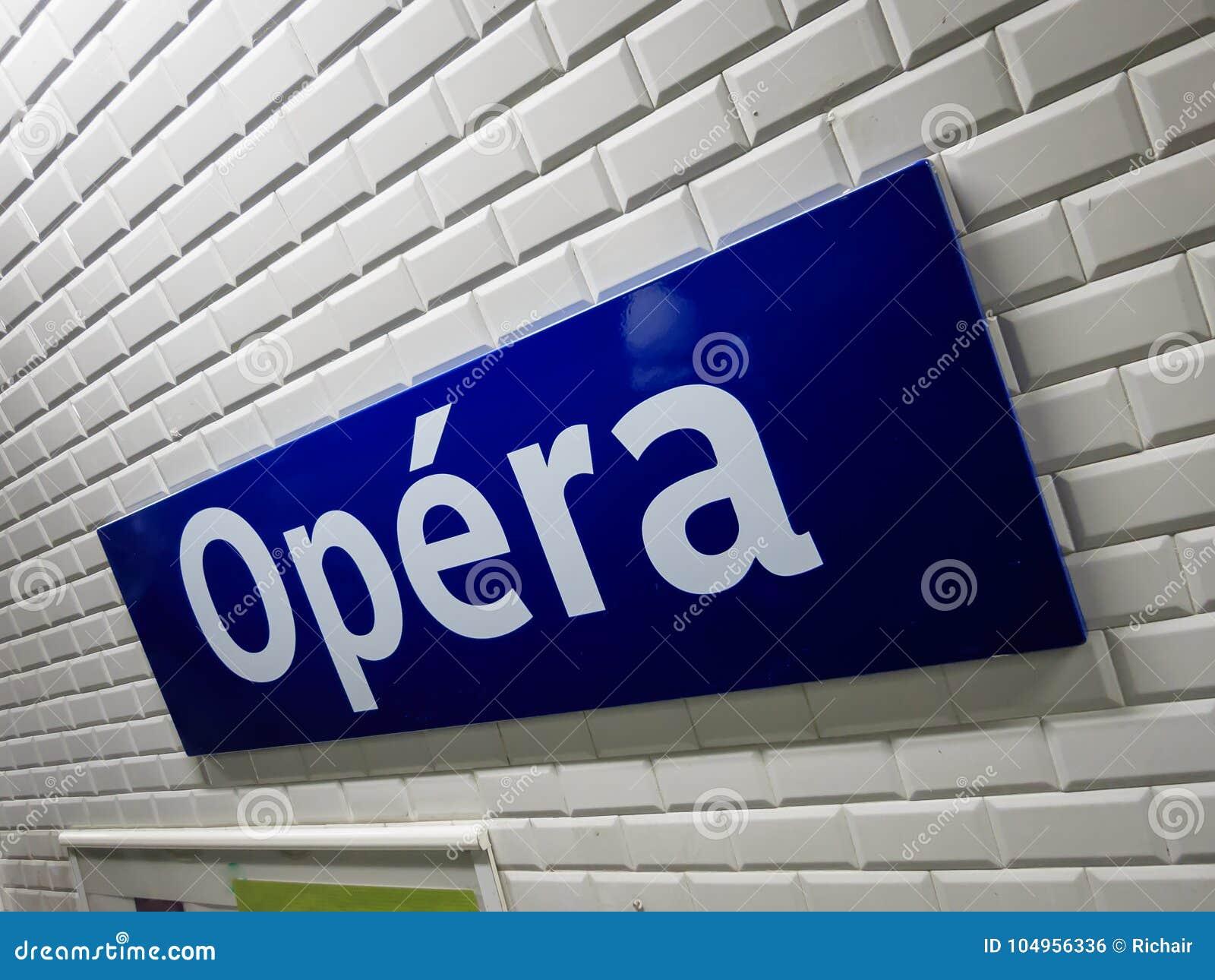 Opa C Ra Metrozeichen Paris Stockfoto Bild Von Publikum 104956336