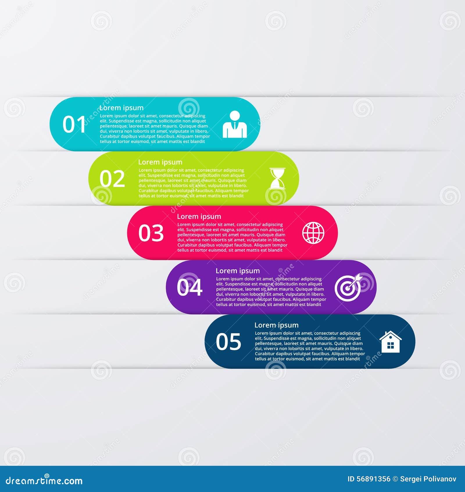 Opções infographic da ilustração do vetor cinco