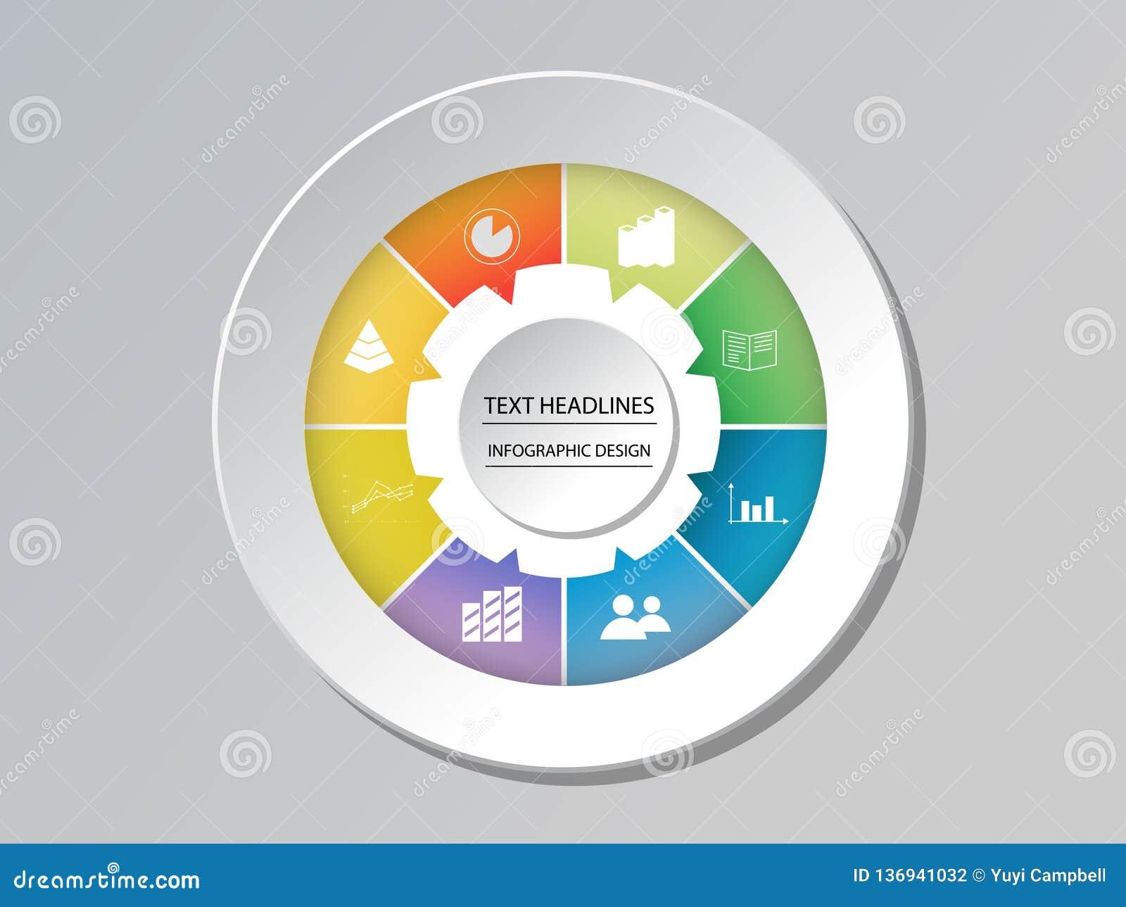 Opções infographic do molde da carta do círculo para apresentações