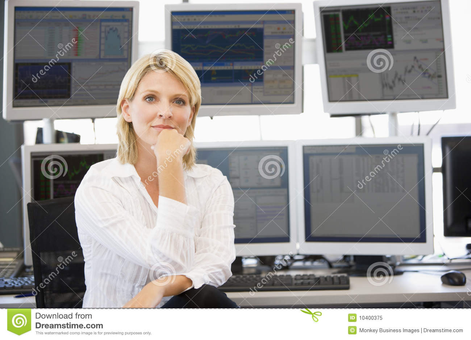 Opérateur en bourse de verticale avant d ordinateur