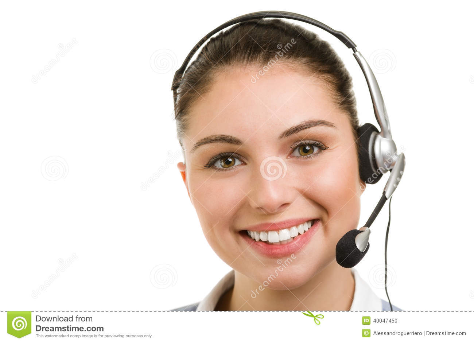 Opérateur féminin de sourire heureux de téléphone de soutien