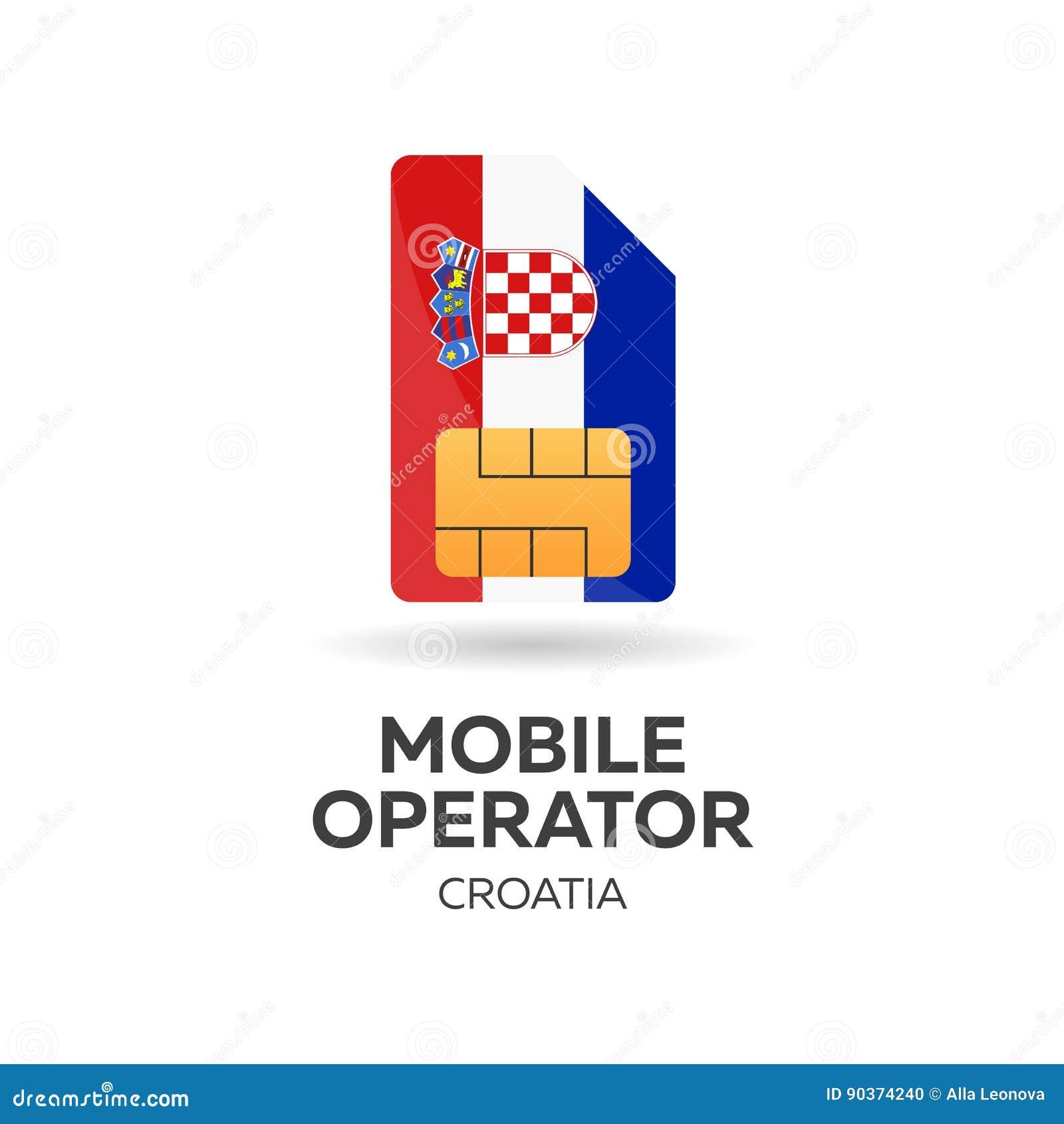 Carte Sim Croatie.Operateur Mobile De La Croatie Carte De Sim Avec Le Drapeau