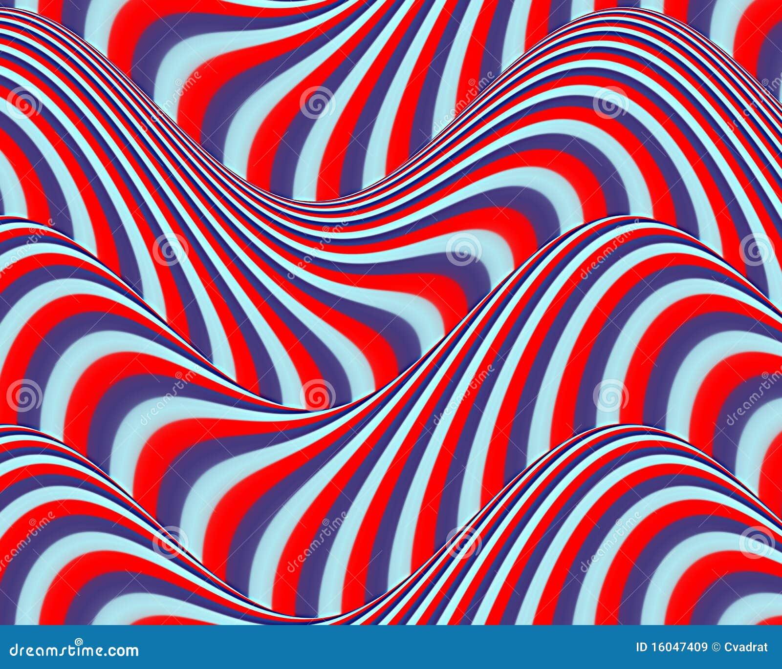 Op Art Flowing Stripes Red Blue Light Blue Stock