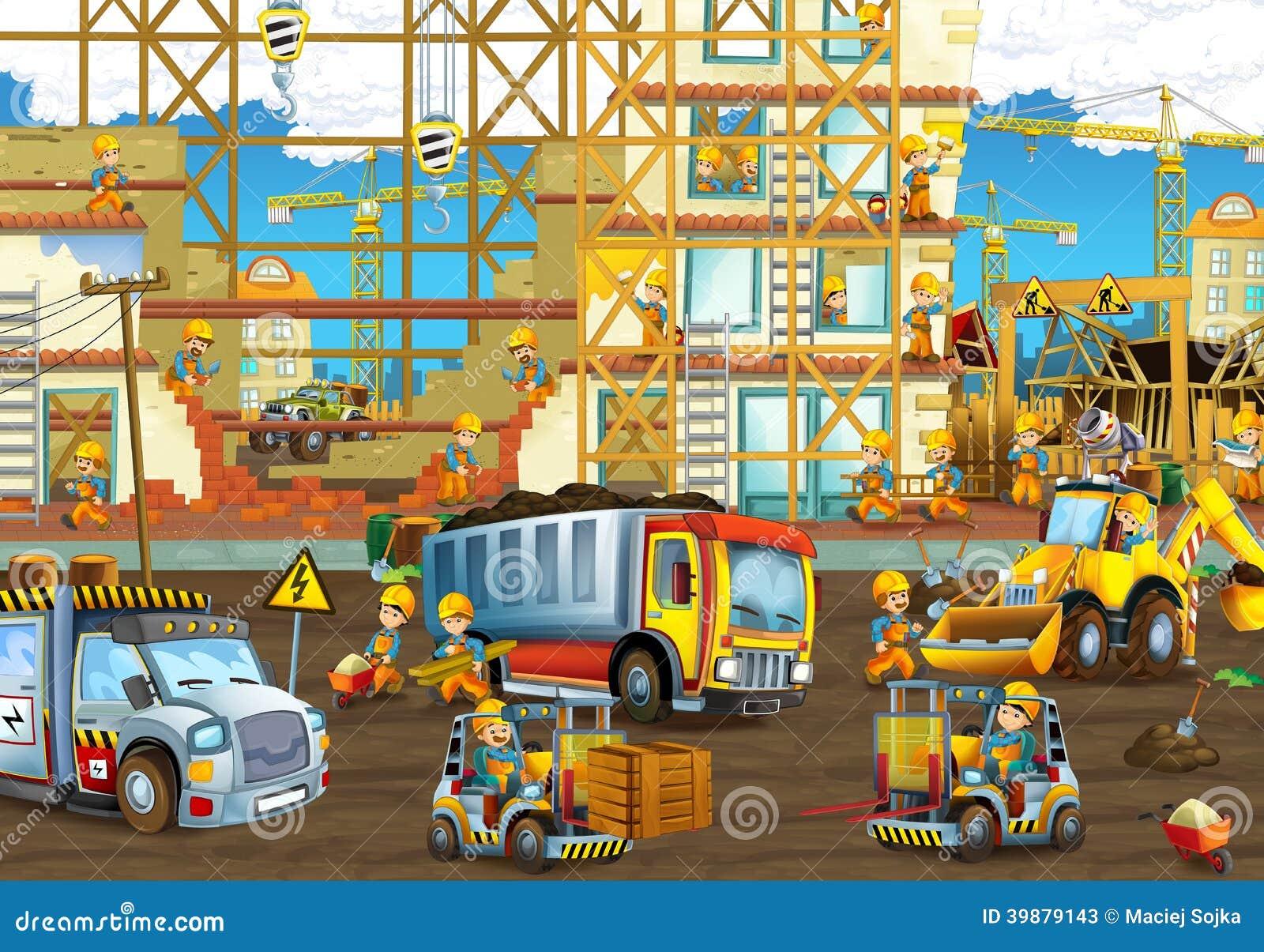 Op de bouwwerf - illustratie voor de kinderen