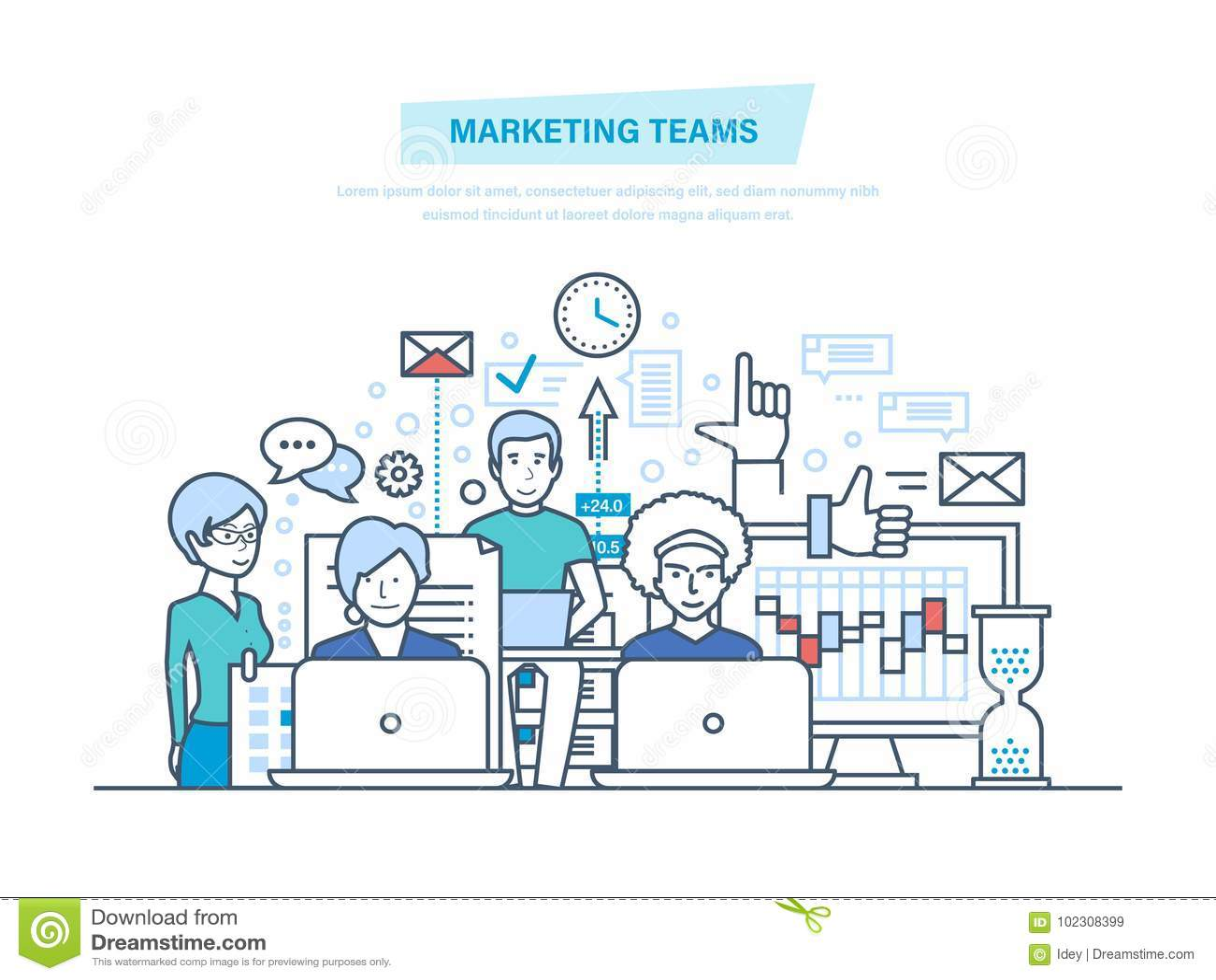 Op de markt brengende teams Collectieve commerciële groepsmensen, creatief team, vennootschappen, groepswerk