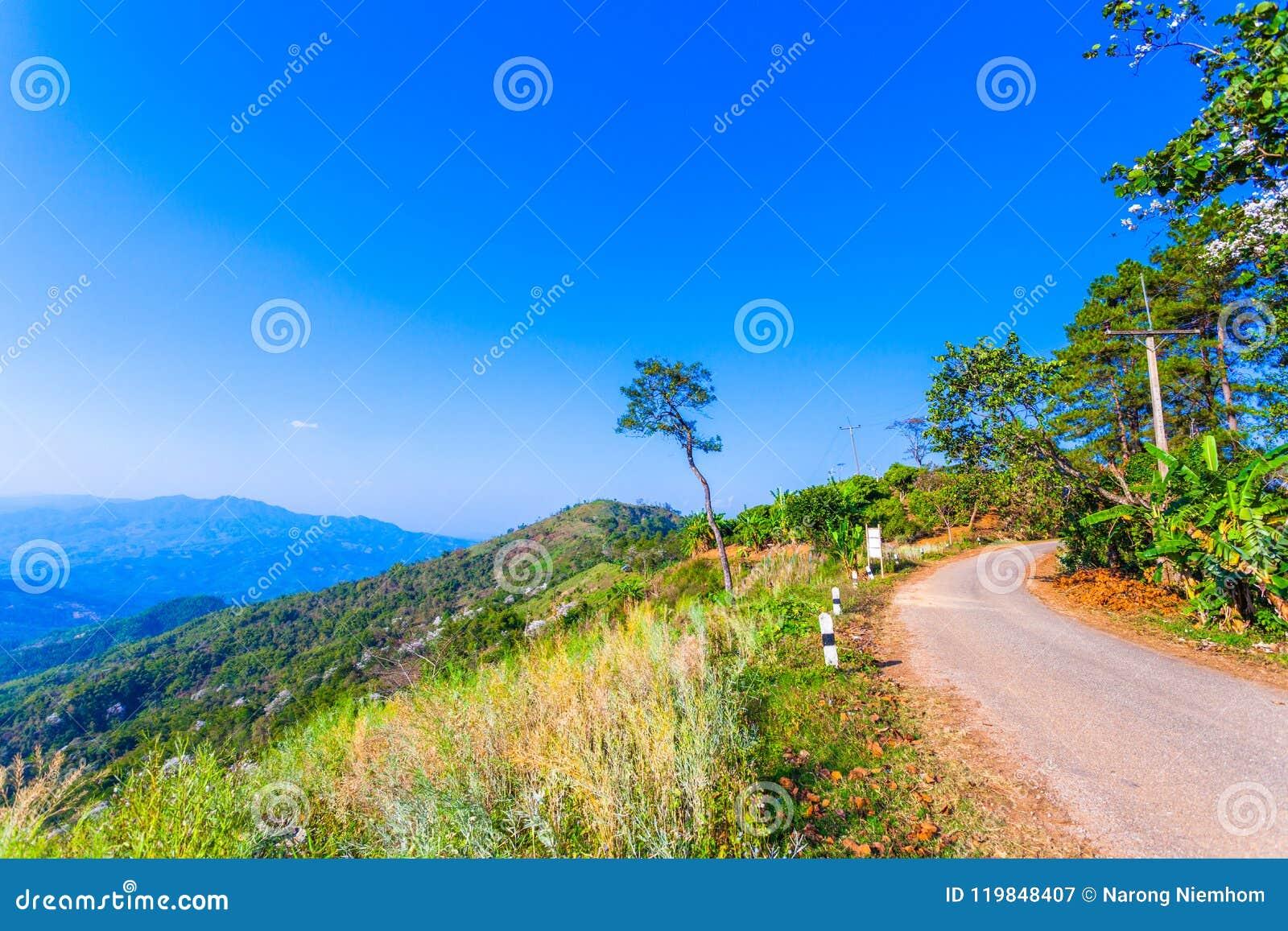Op de meningspunt van Doi Pha Mee kunt u Doi Nangnon in de vorm van Maesai Chiang Rai van bergen zien als vrouwen het slapen kijk