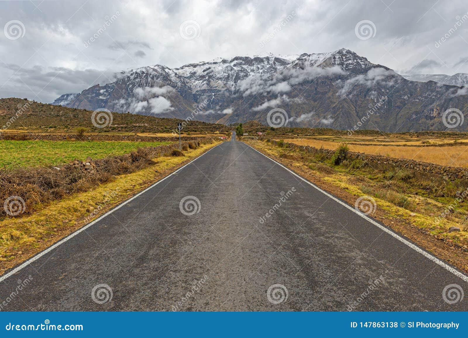 Op de Weg in de Bergen van de Andes, Peru