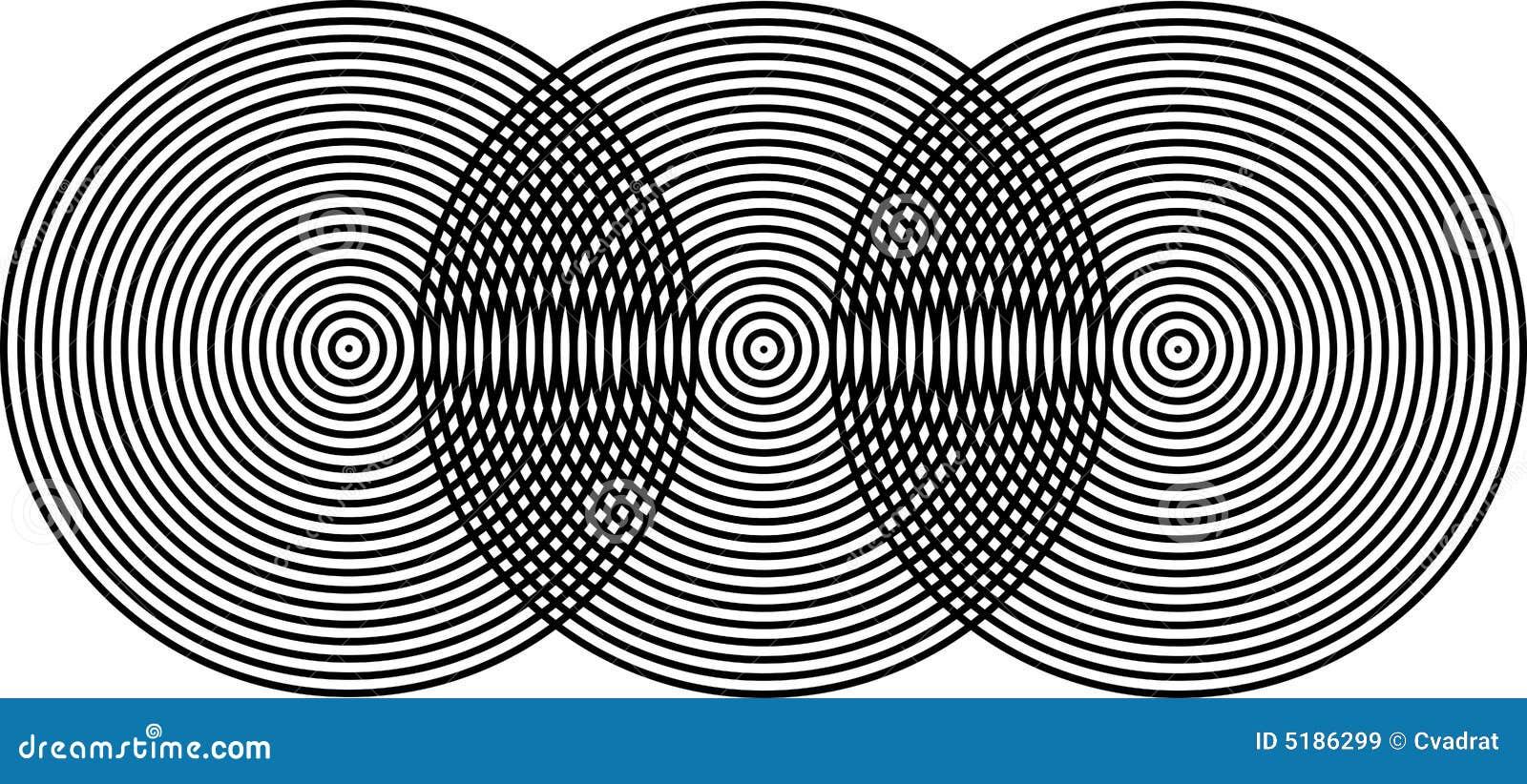 Op de Zwarte van Superposing Bullseyes van de Kunst op Zwarte