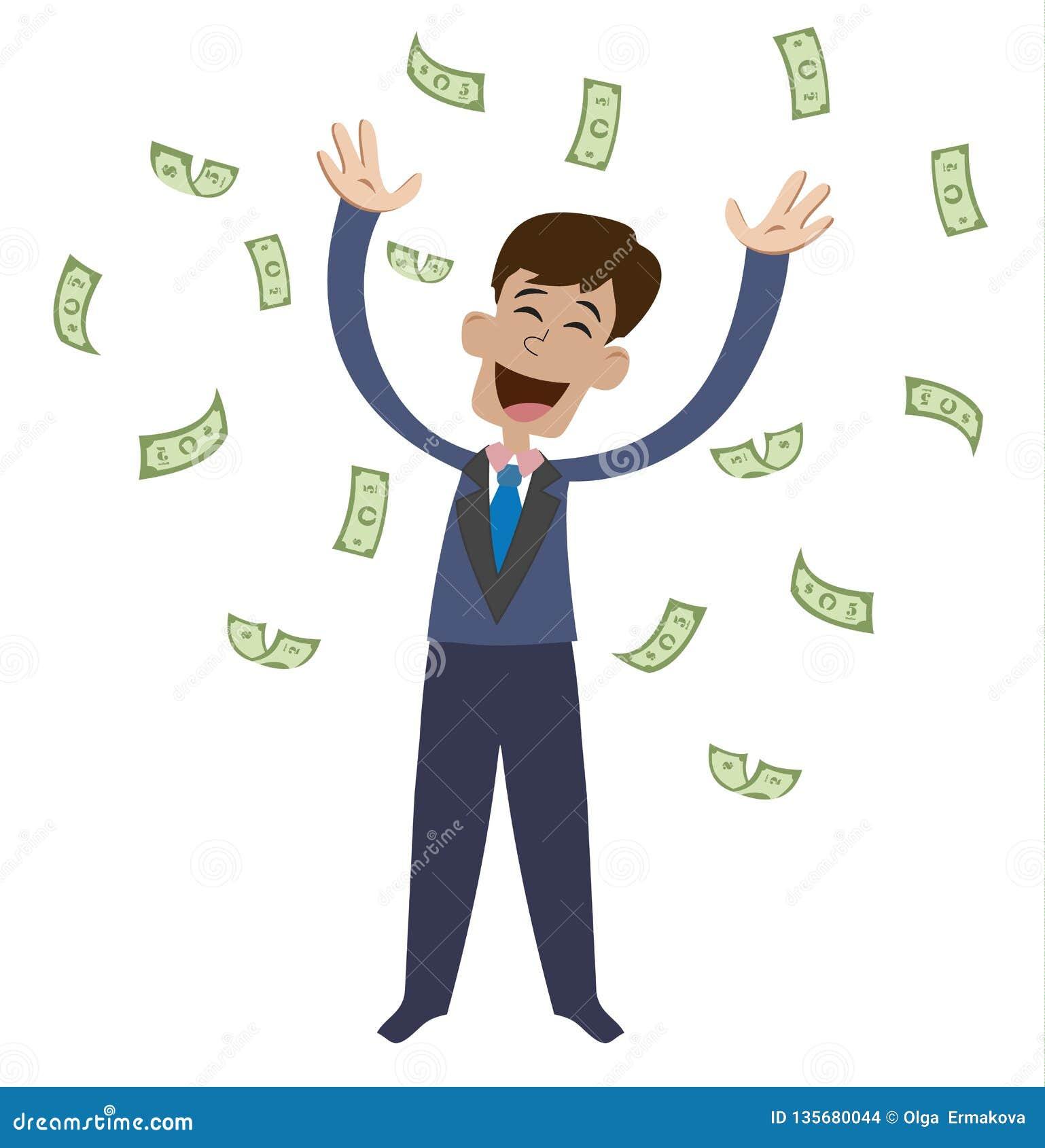 Op een mens zijn dalende geldrekeningen Blije zakenman die van geluk springen