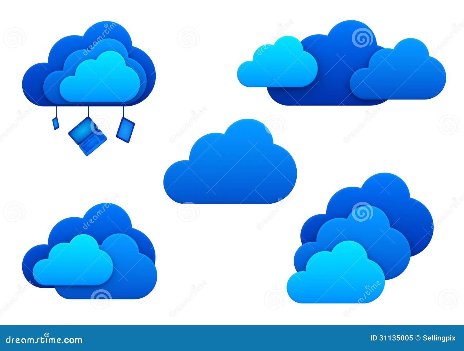 Opacifie des icônes. D isolement. Concept de calcul d idée de nuage.