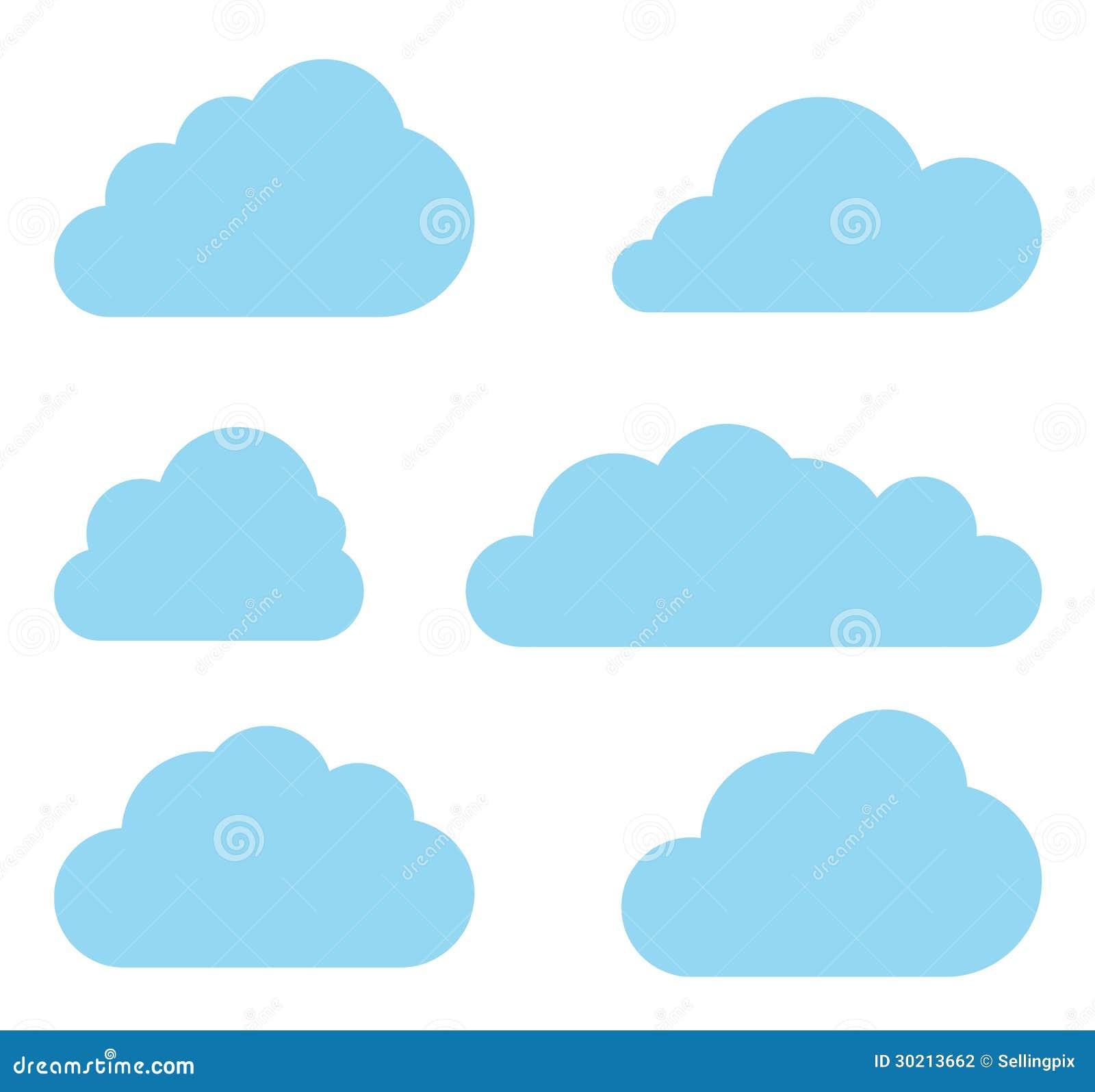 Collection de vecteur de nuages. Paquet de calcul de nuage.