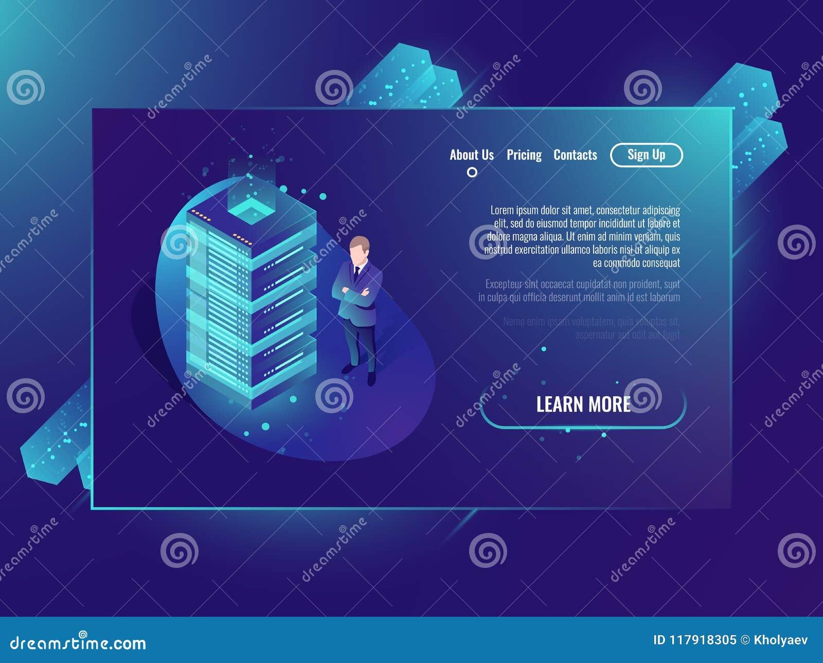 Opacifiez le concept de vecteur de stockage, le centre de traitement des données et la base de données isométriques, support de p