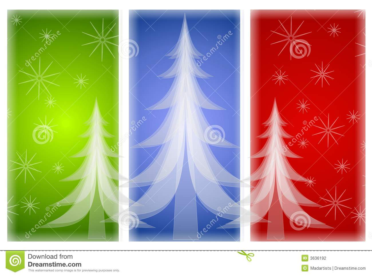 Opaque Christmas Trees On Red Green Blue Stock Photography