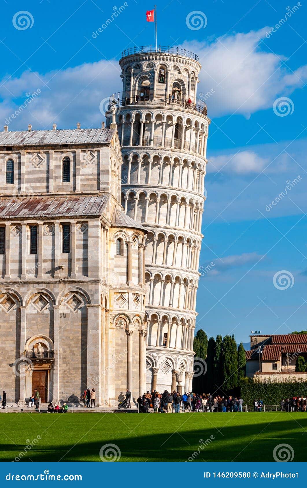 Oparty wierza Pisa w piazza dei Miracoli
