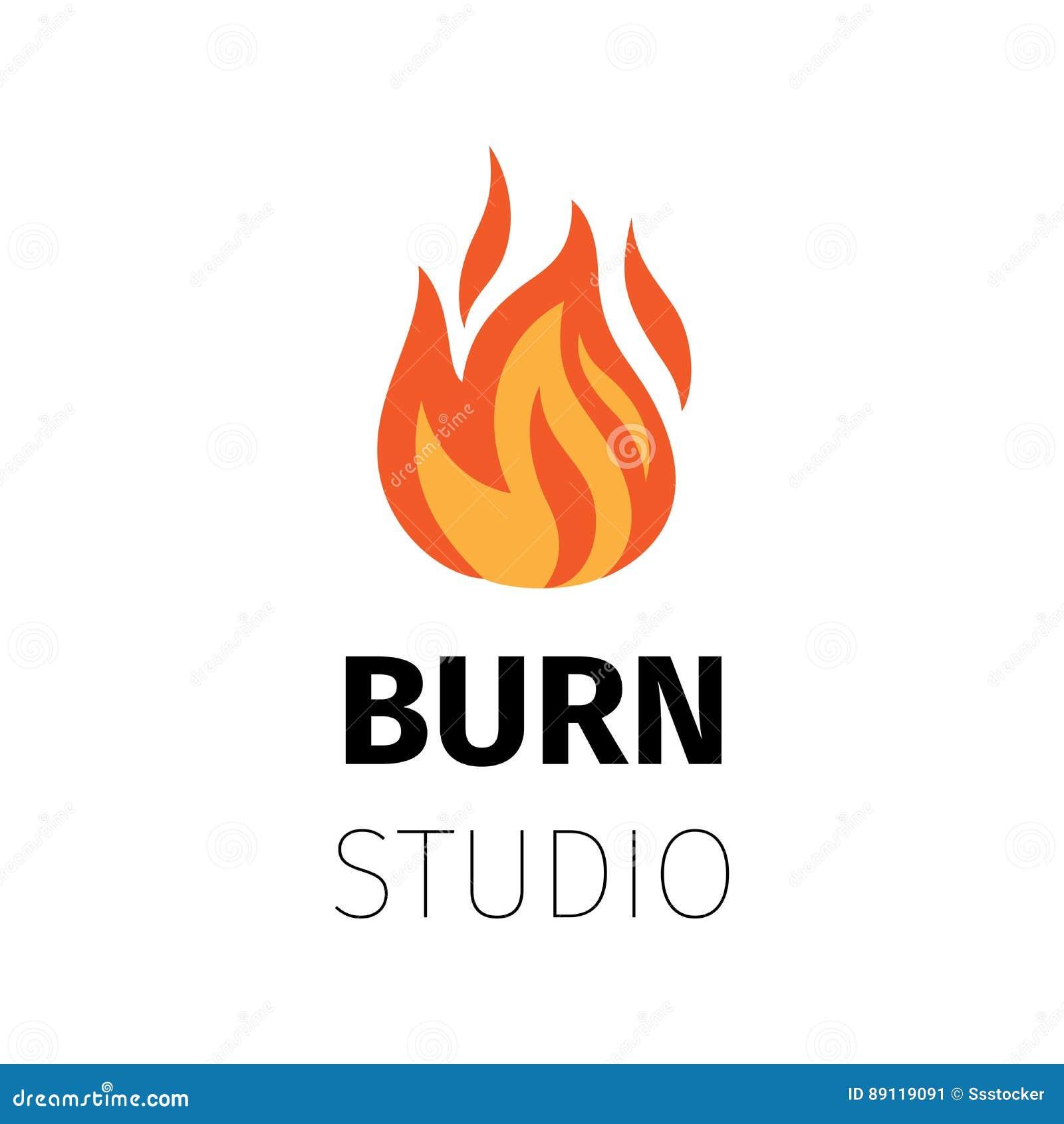 Oparzenie studia ogienia płomienia logo