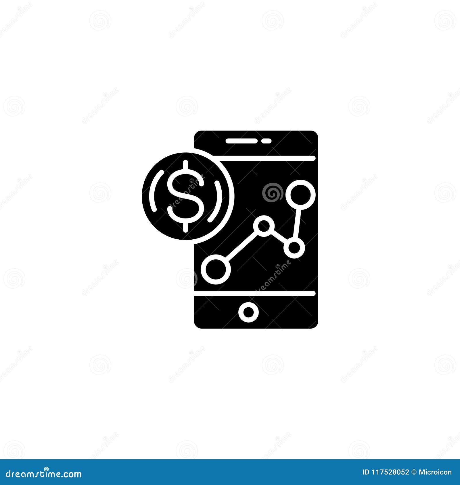 Opbrengst die zwart pictogramconcept controleren Opbrengst die vlak vectorsymbool, teken, illustratie controleren