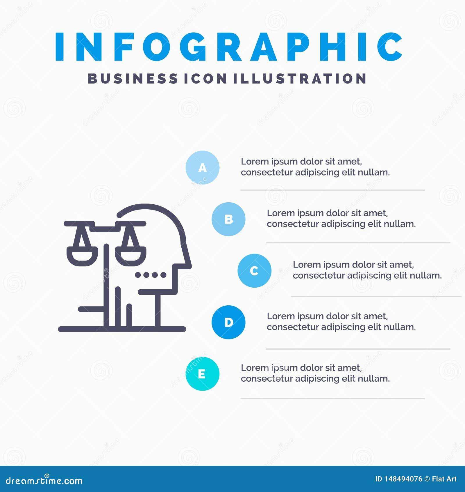 Opción, corte, ser humano, juicio, línea icono de la ley con el fondo del infographics de la presentación de 5 pasos